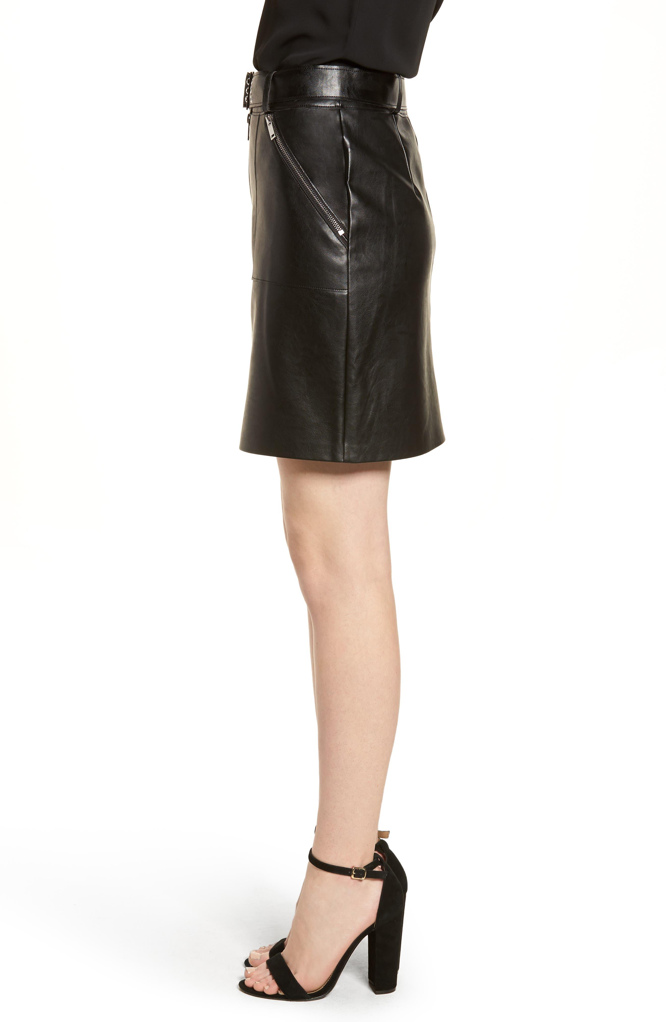 Faux Leather Miniskirt,                             Alternate thumbnail 3, color,                             Black