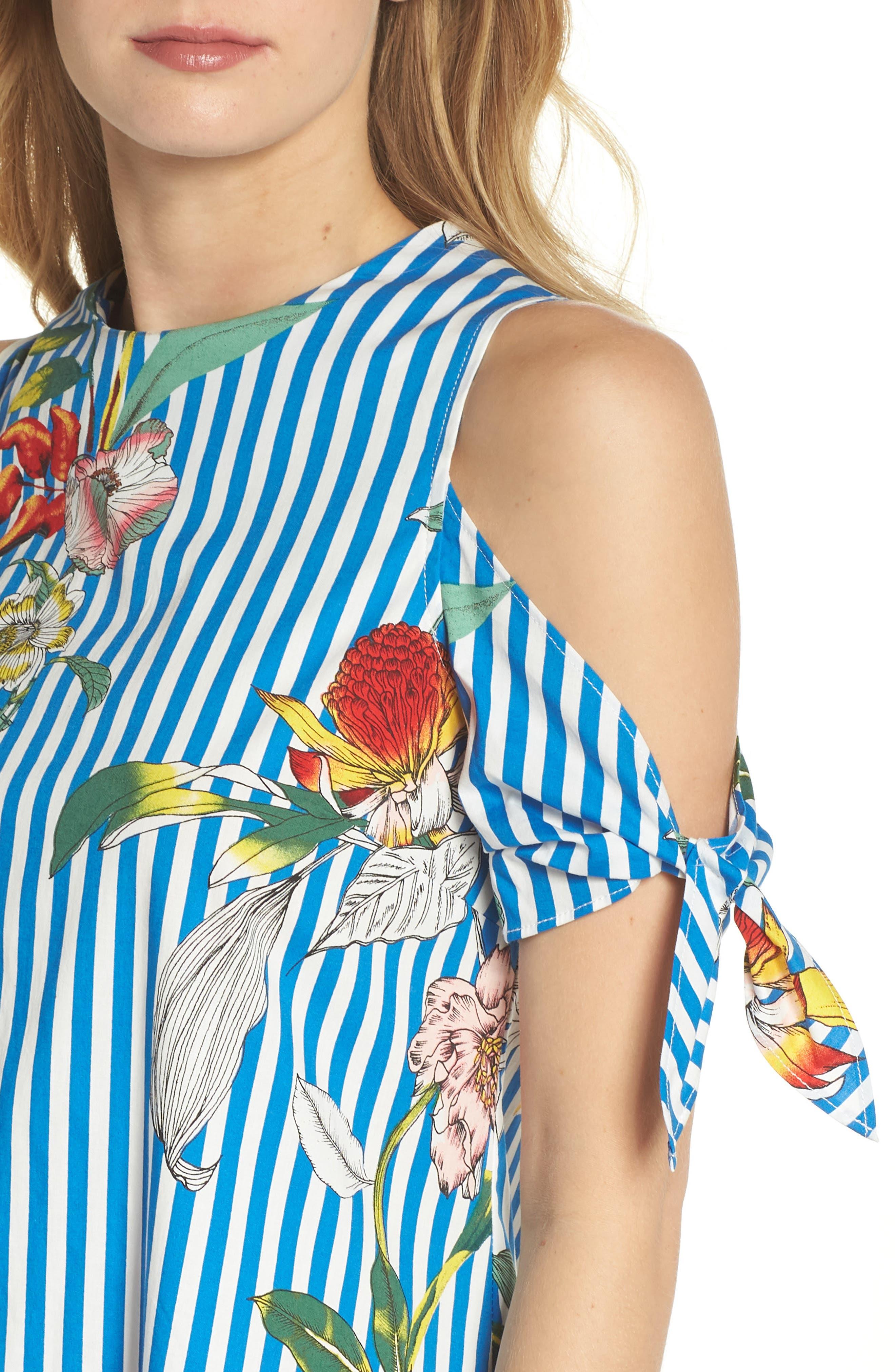 Cold Shoulder Shift Dress,                             Alternate thumbnail 4, color,                             Blue/ Ivory