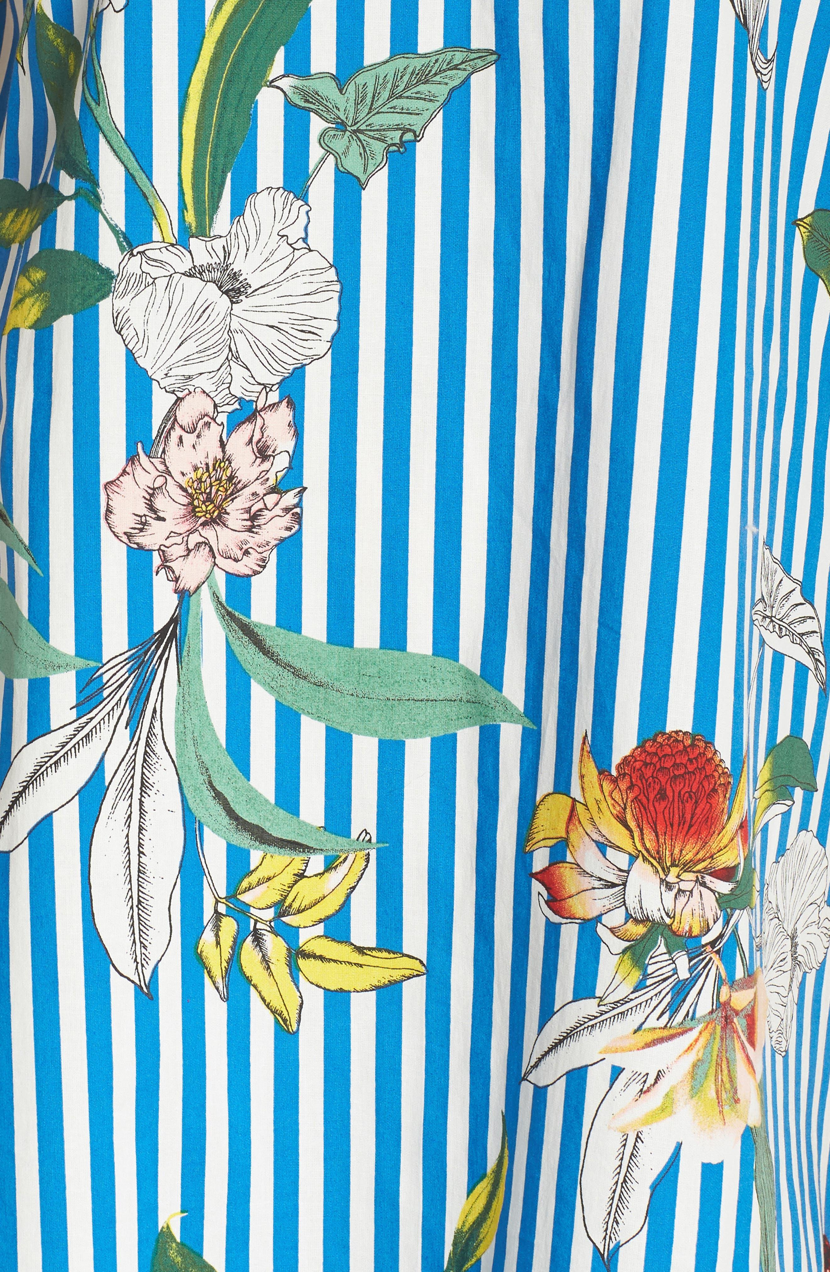 Cold Shoulder Shift Dress,                             Alternate thumbnail 6, color,                             Blue/ Ivory