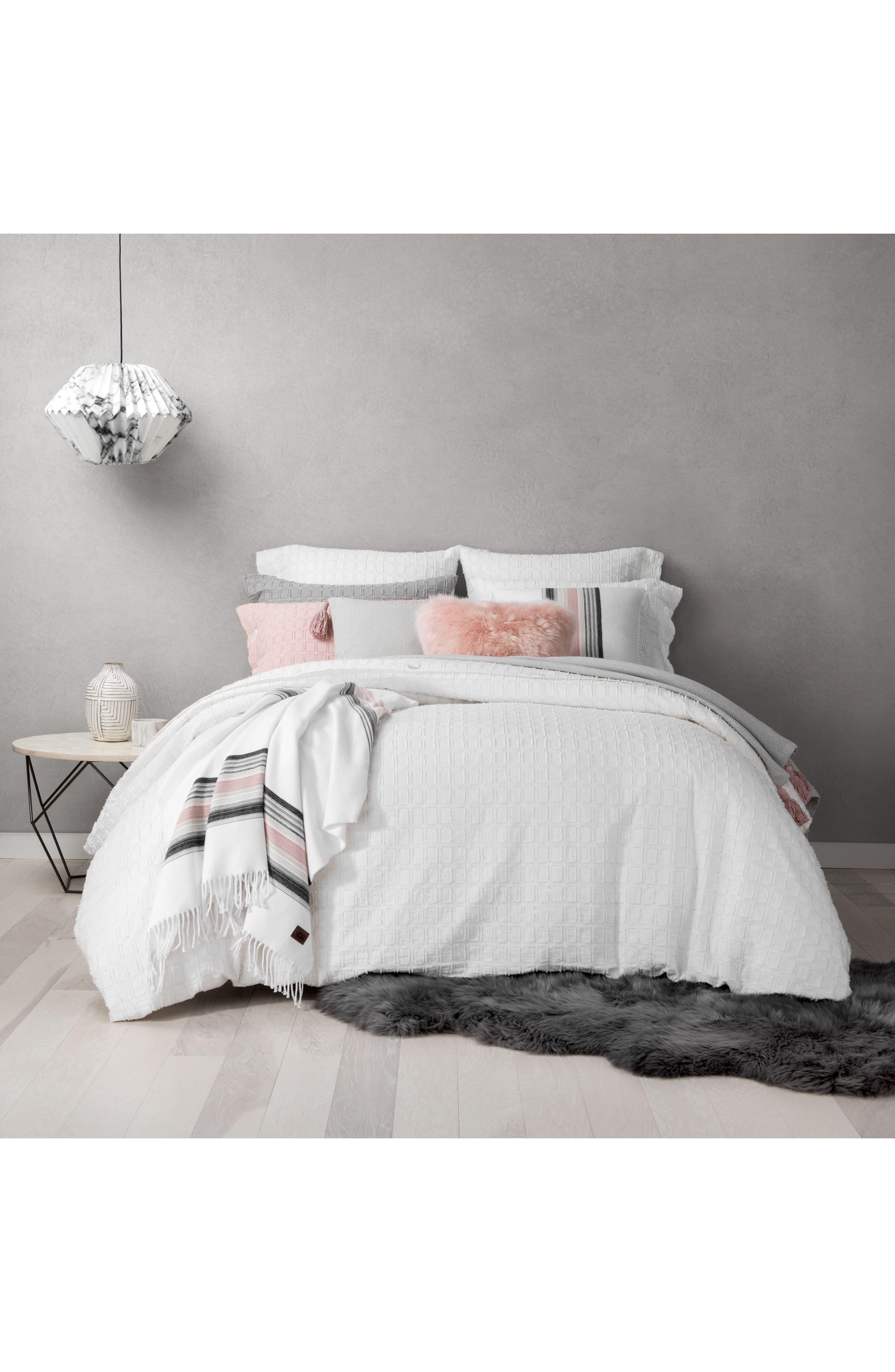 Genuine Sheepskin Accent Pillow,                             Alternate thumbnail 3, color,                             Blush
