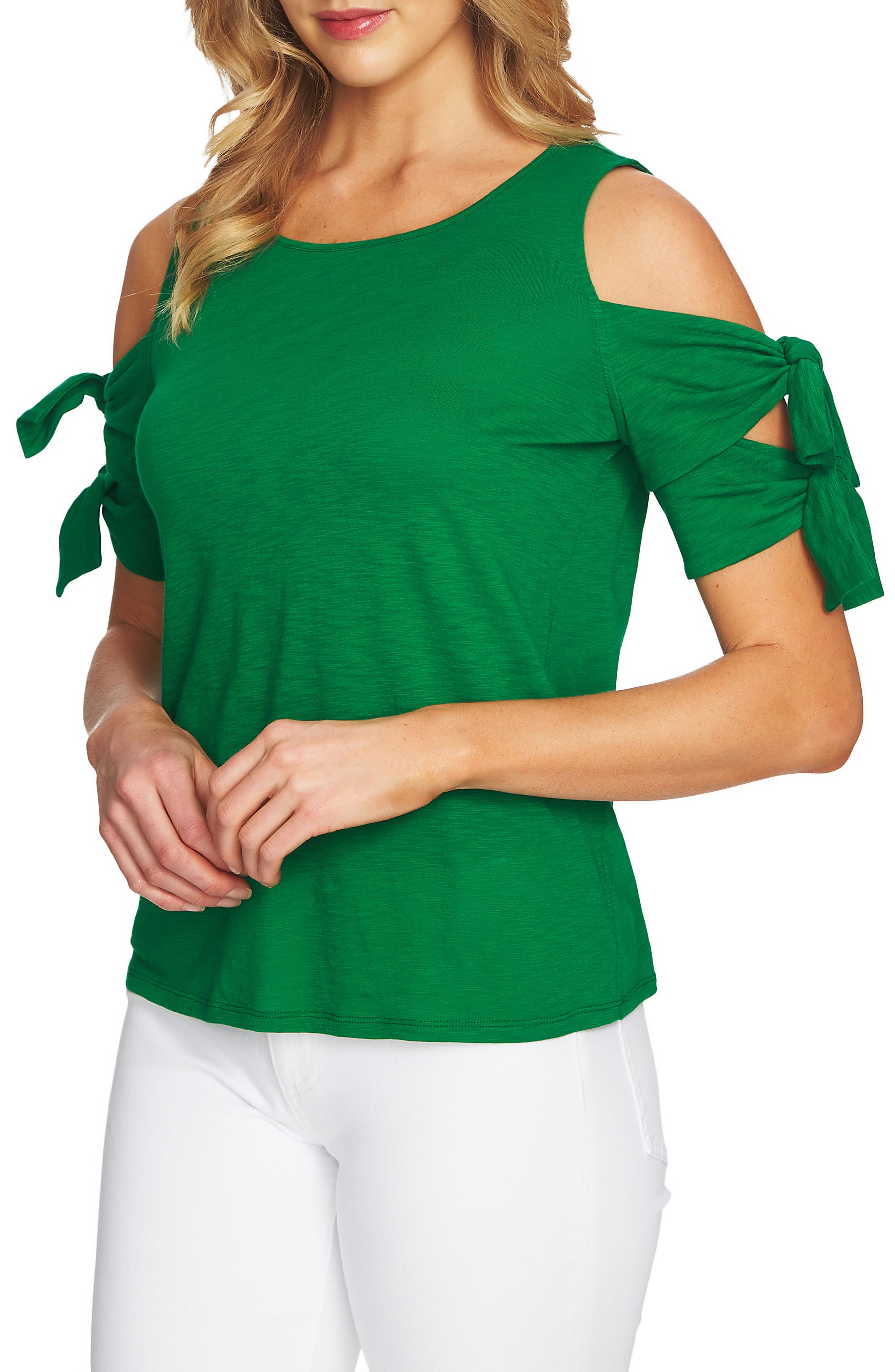 Cold Shoulder Double Tie Knit Top,                             Main thumbnail 1, color,                             Lush Green