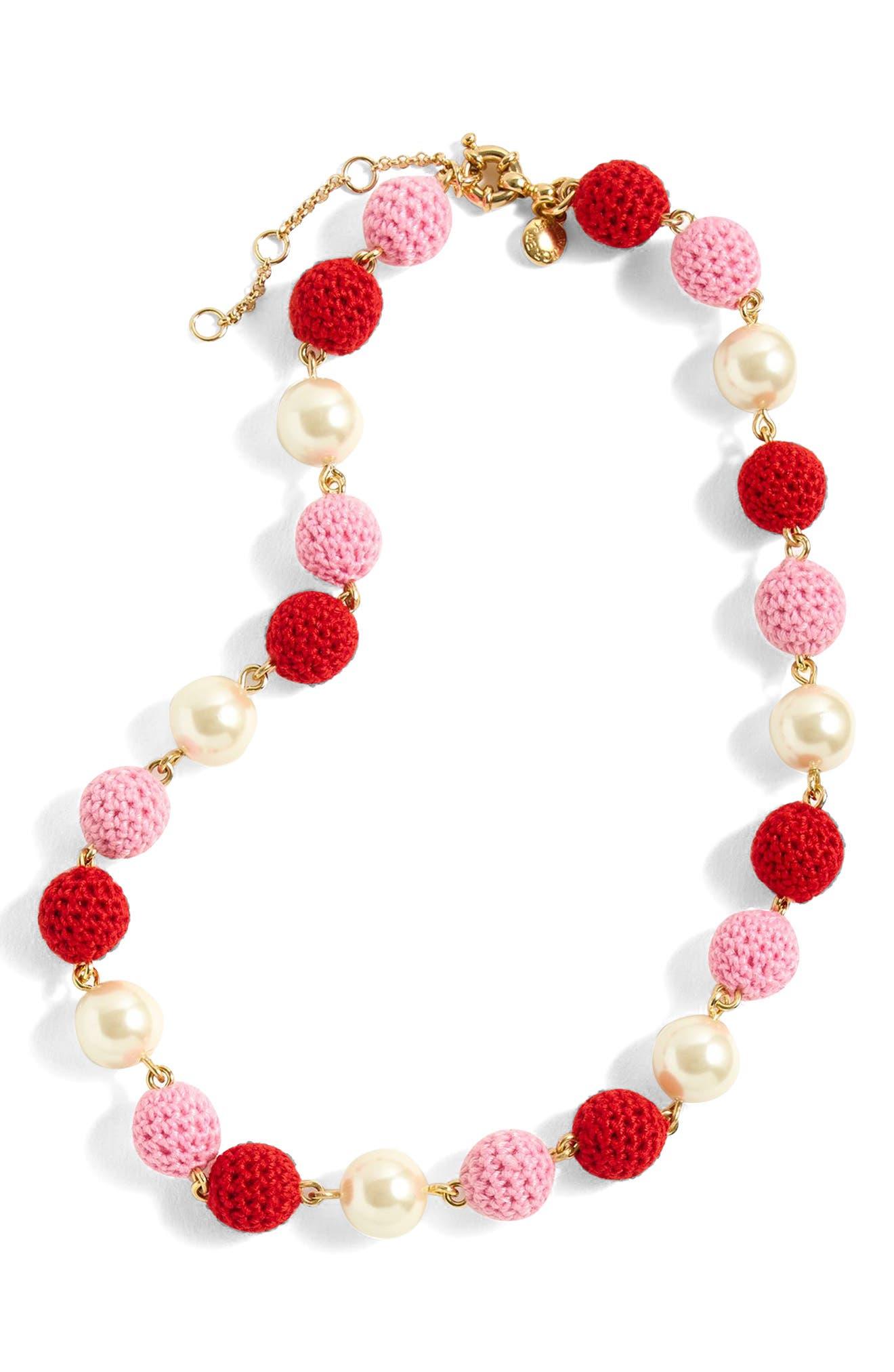 Crochet Bead & Glass Pearl Necklace,                             Main thumbnail 1, color,                             Cerise