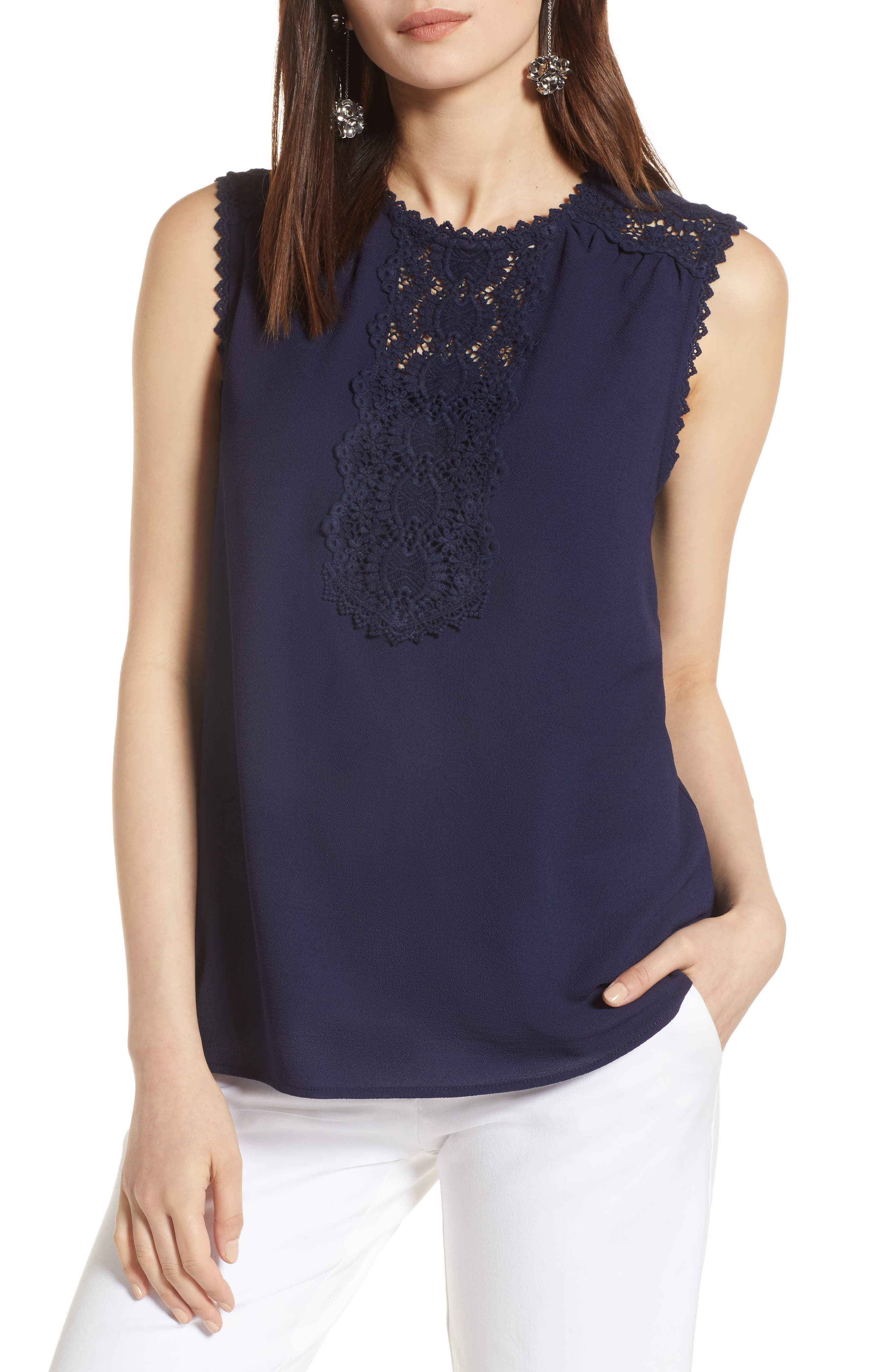 Lace Detail Stretch Crepe Tank Top,                             Main thumbnail 1, color,                             Navy Peacoat