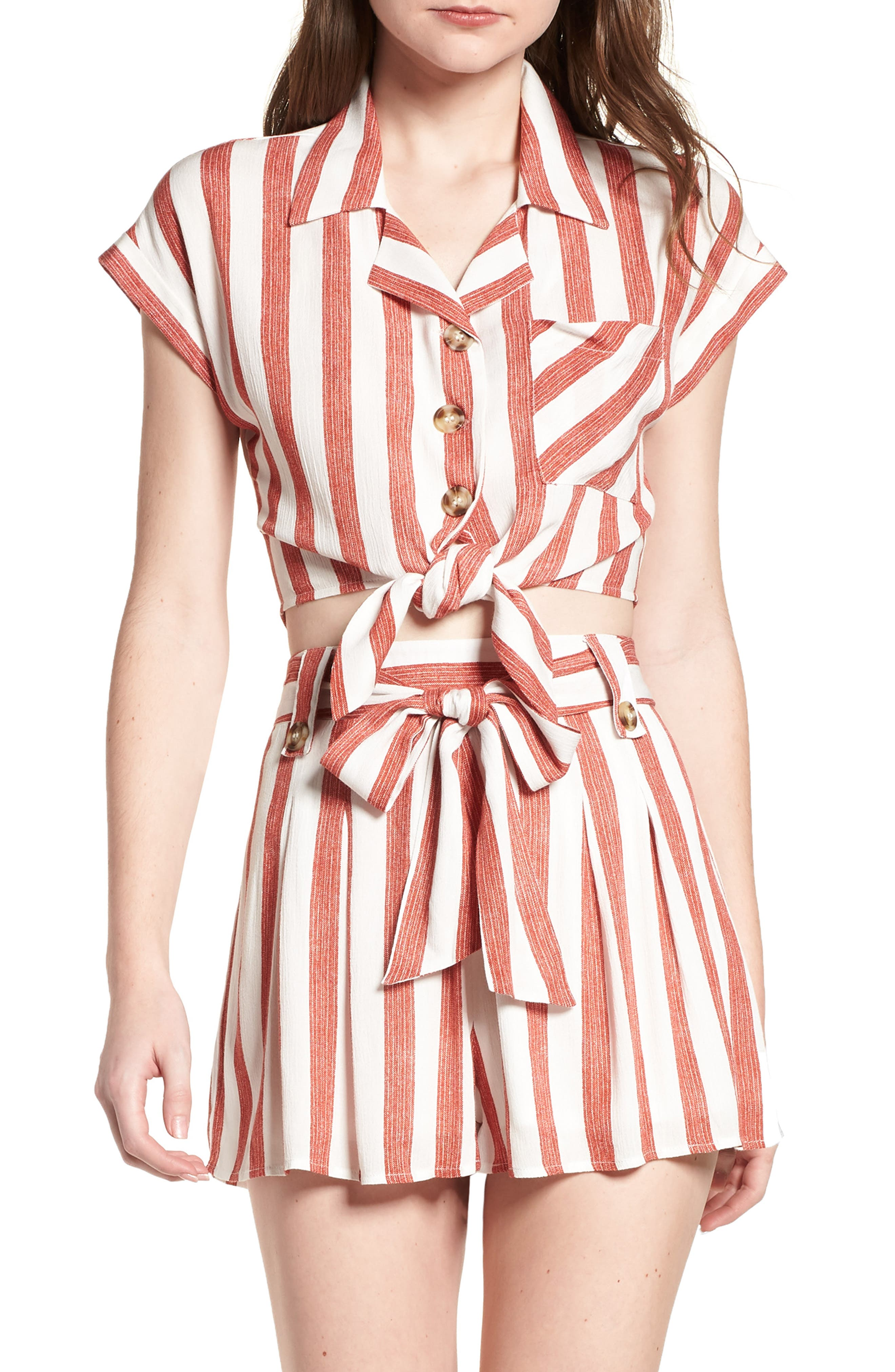 Stripe Tie Front Top,                         Main,                         color, Red/ Ivory