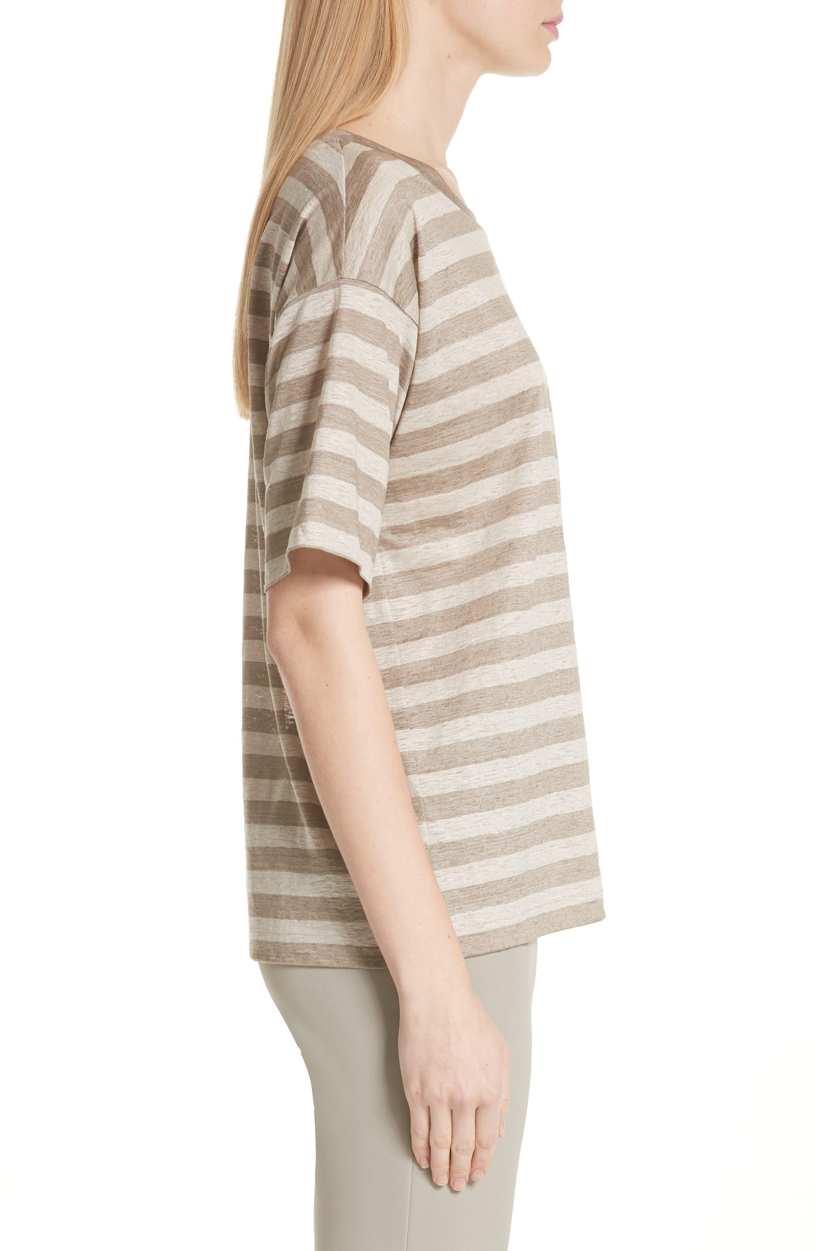 Easy Stripe Linen Tee,                             Alternate thumbnail 3, color,                             Partridge Multi
