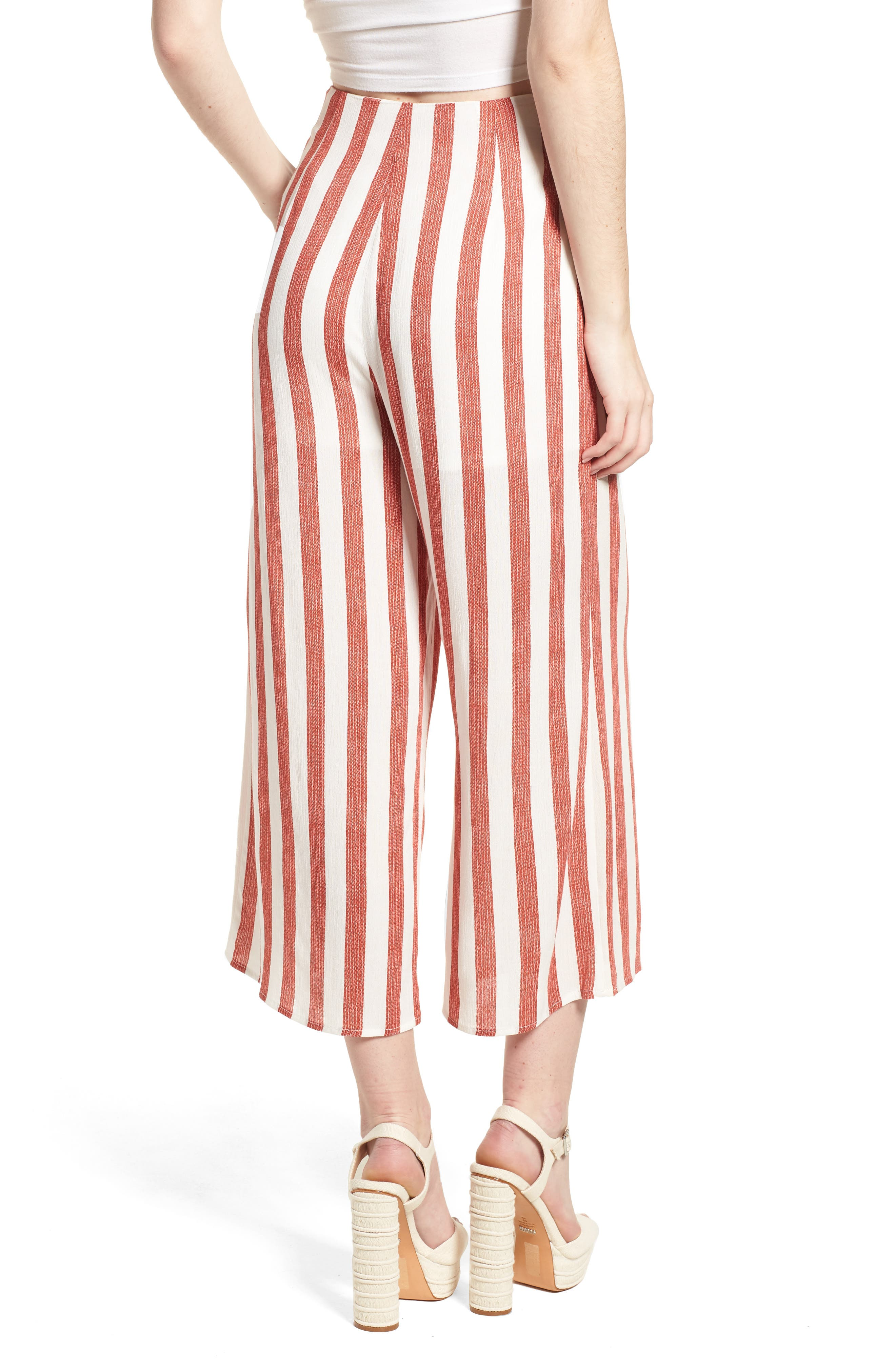 Stripe Culottes,                             Alternate thumbnail 3, color,                             Red/ Ivory