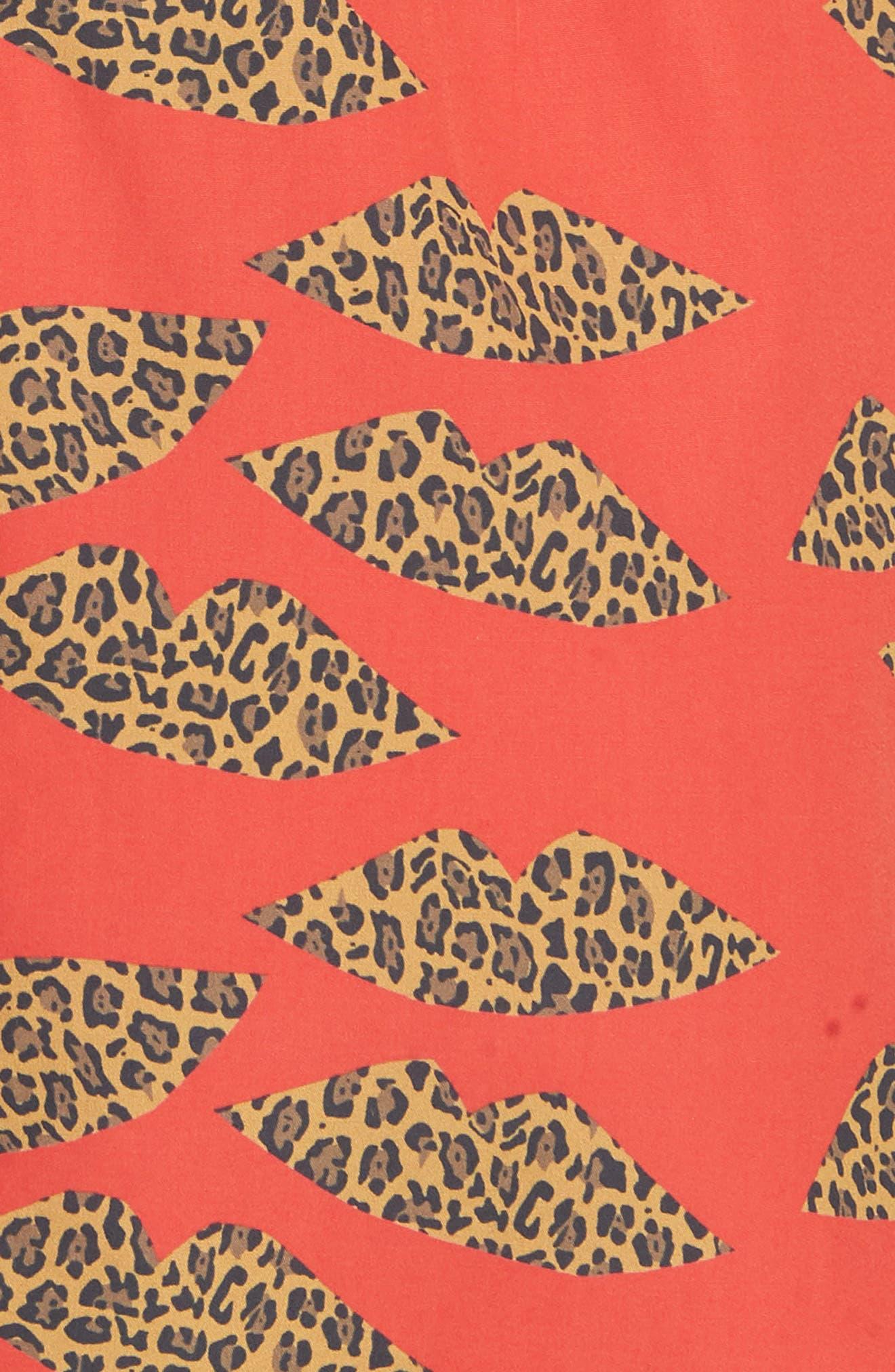 Clyde Cotton Shift Dress,                             Alternate thumbnail 5, color,                             Cheetah
