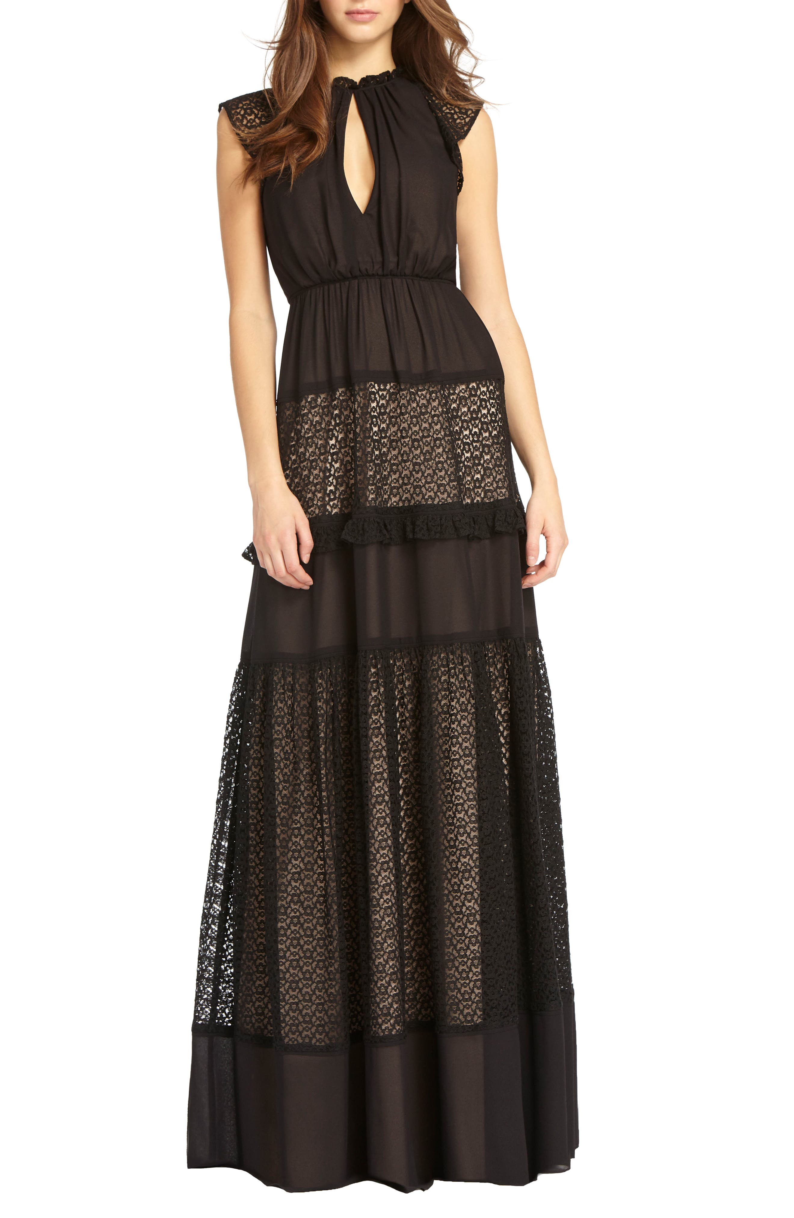Lace Inset Gown,                             Main thumbnail 1, color,                             Black Nude
