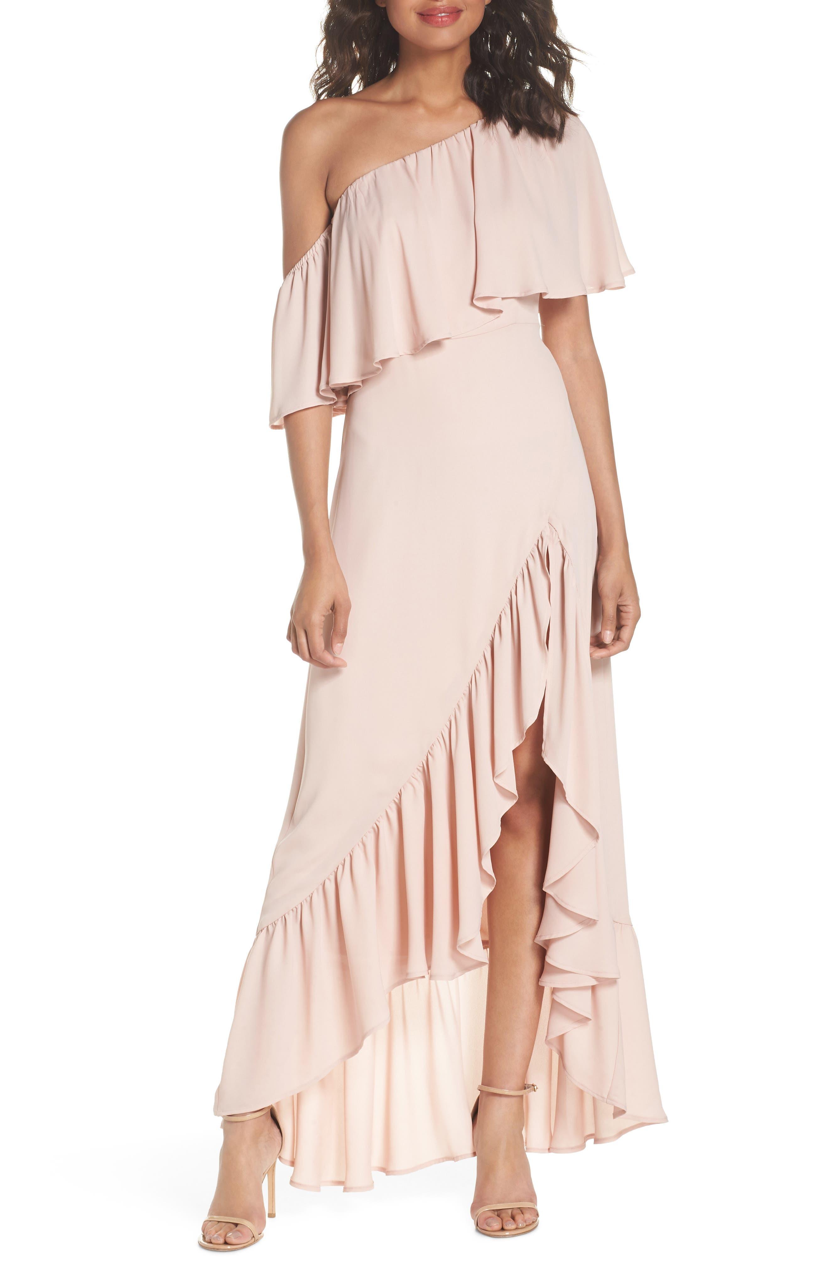Tango Ruffle Gown,                             Main thumbnail 1, color,                             Dusty Blush Crisp