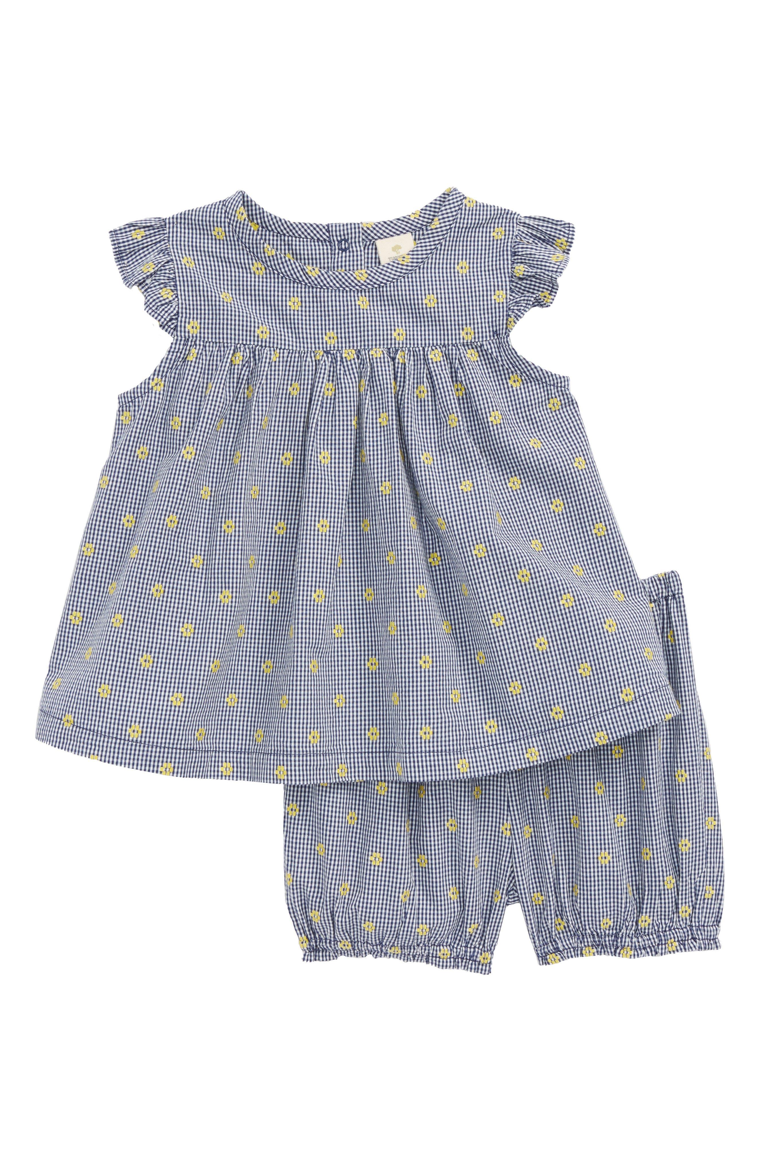 Flutter Sleeve Tunic & Shorts Set,                         Main,                         color, Navy Ribbon- White Daisy