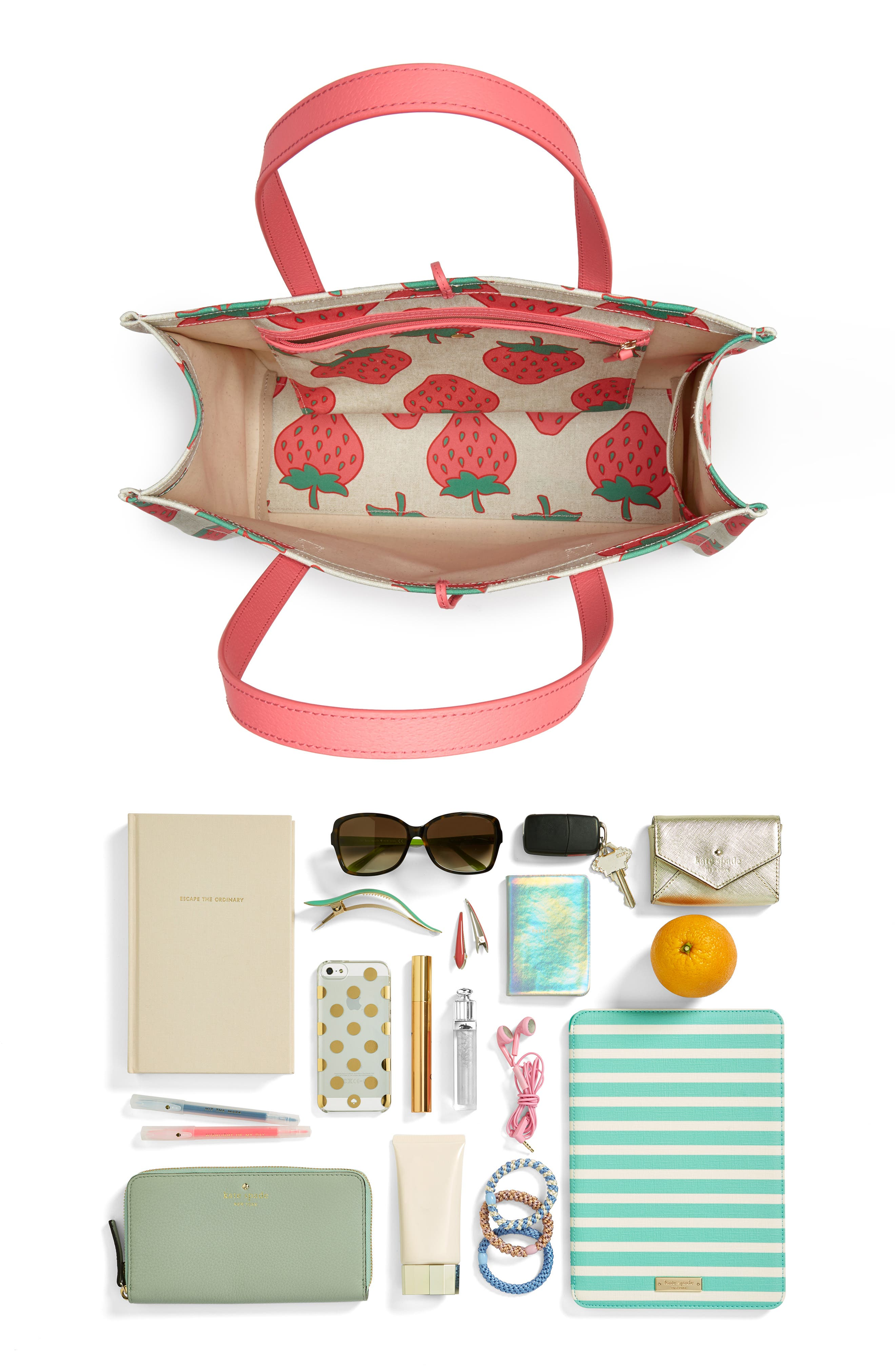 picnic perfect strawberry canvas mega sam canvas tote,                             Alternate thumbnail 7, color,