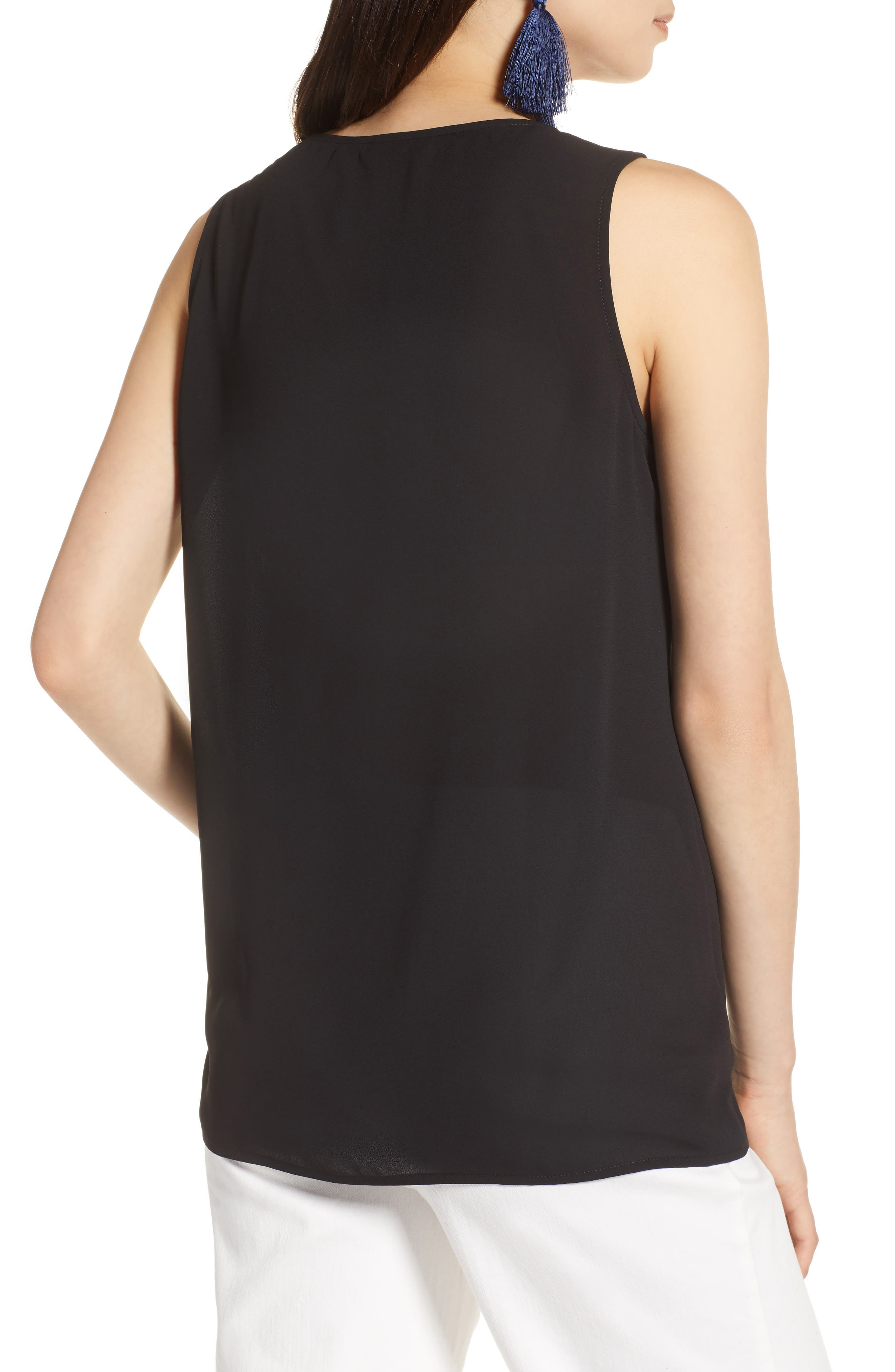 Side Ruched Top,                             Alternate thumbnail 2, color,                             Black