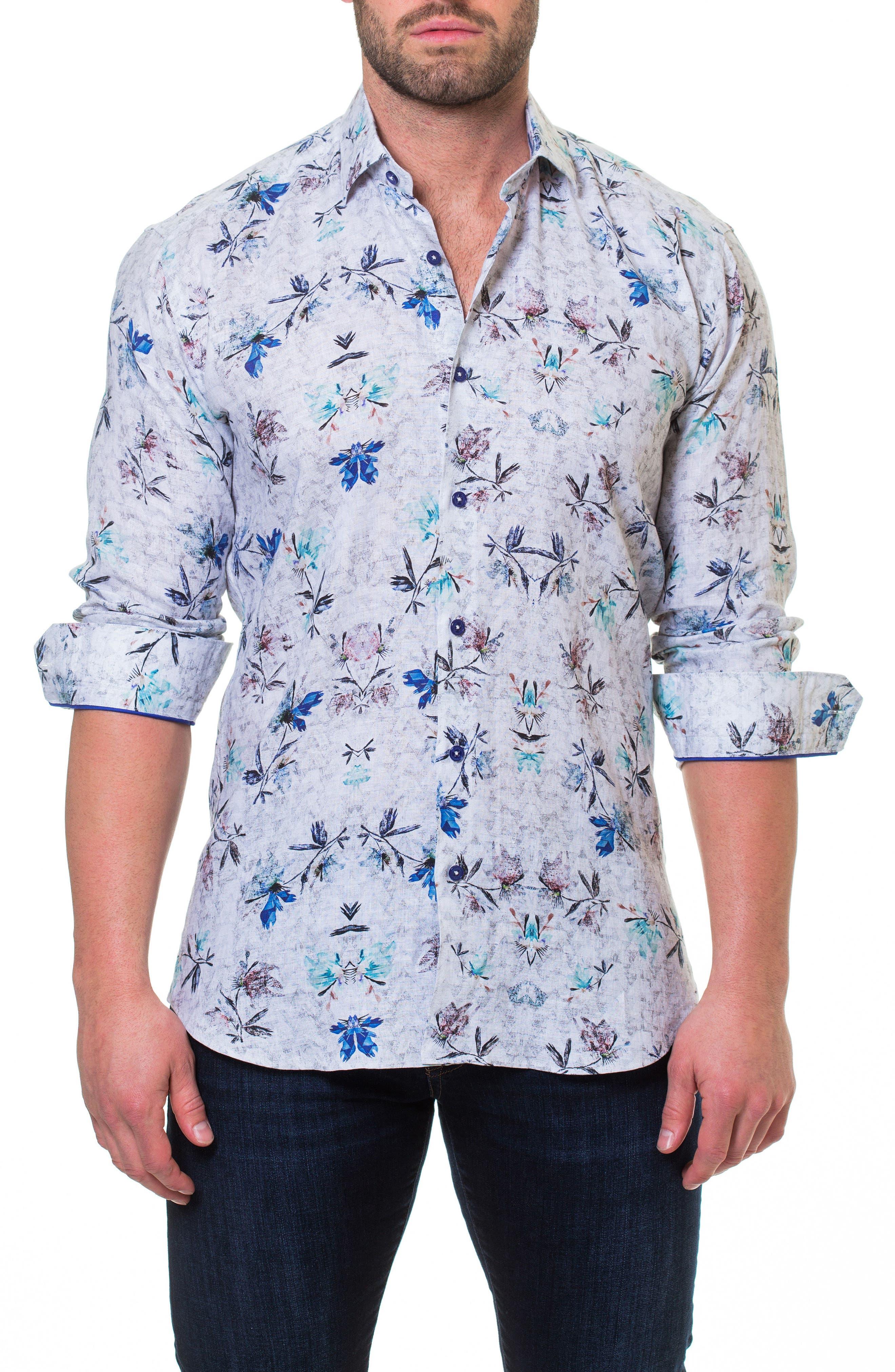 Wall Street Mountain Grey Slim Fit Sport Shirt,                         Main,                         color, Grey