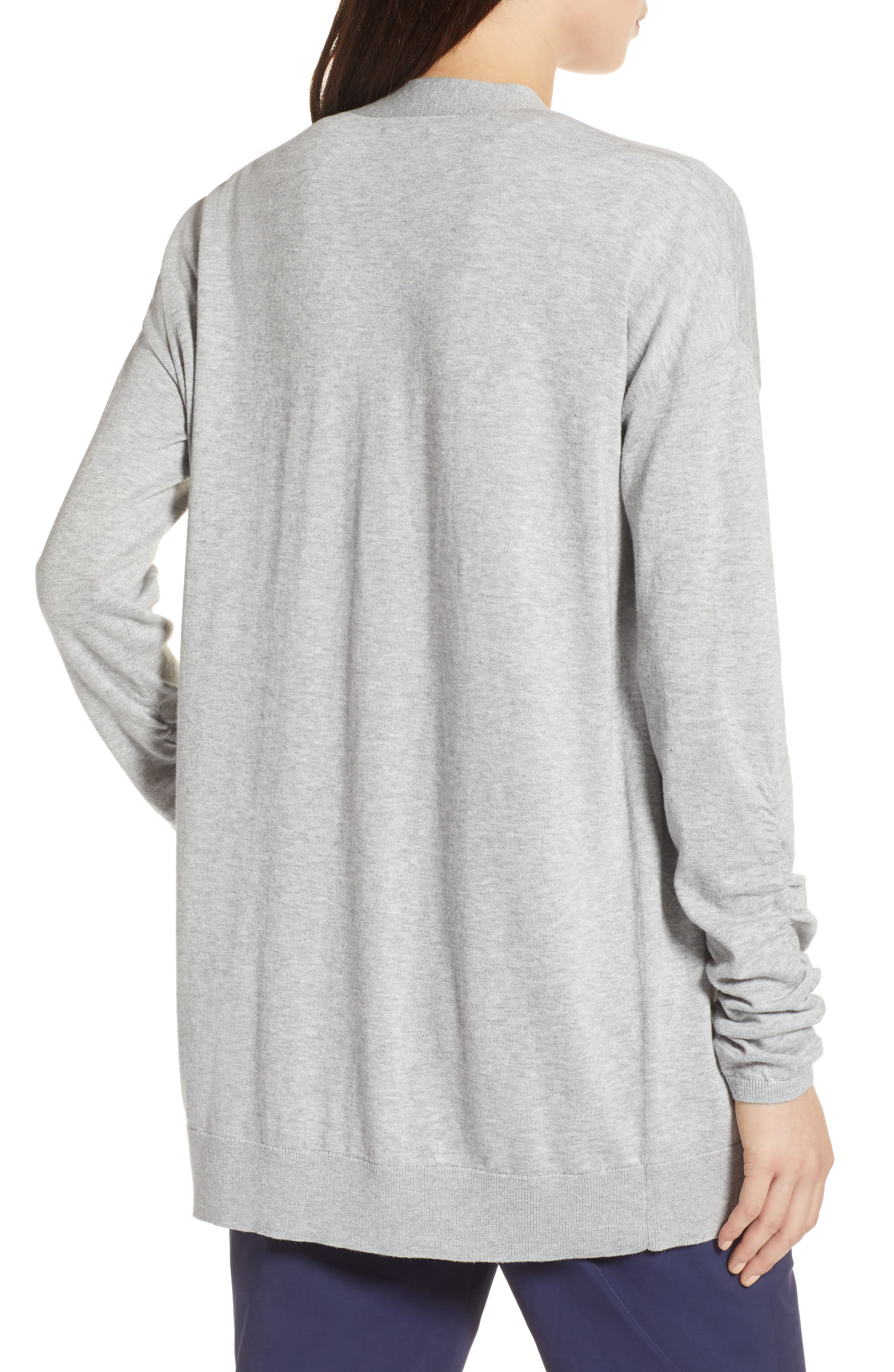 Ruched Sleeve Cardigan,                             Alternate thumbnail 2, color,                             Grey Heather