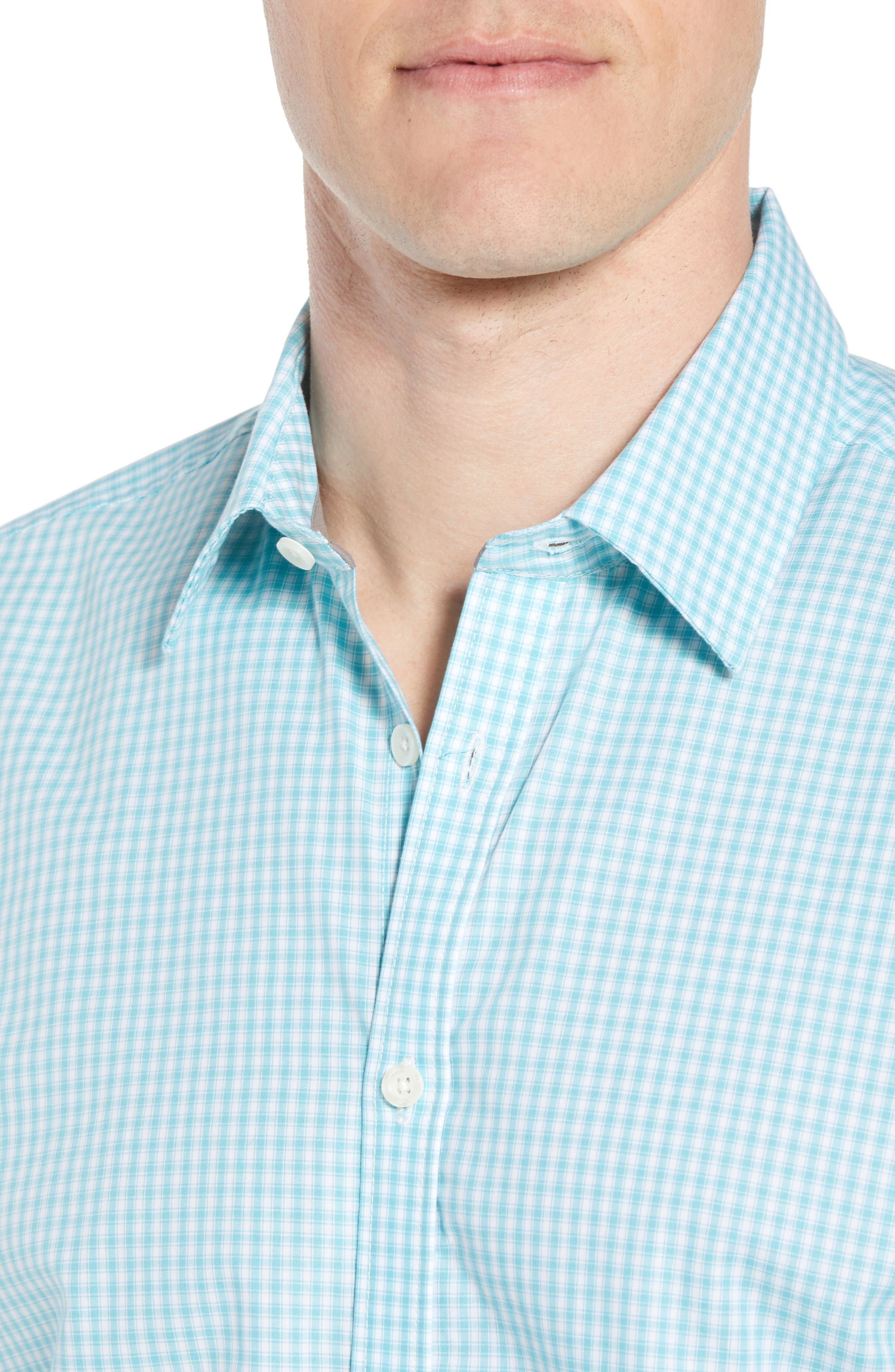 Comfort Fit Check Sport Shirt,                             Alternate thumbnail 2, color,                             Turquoise