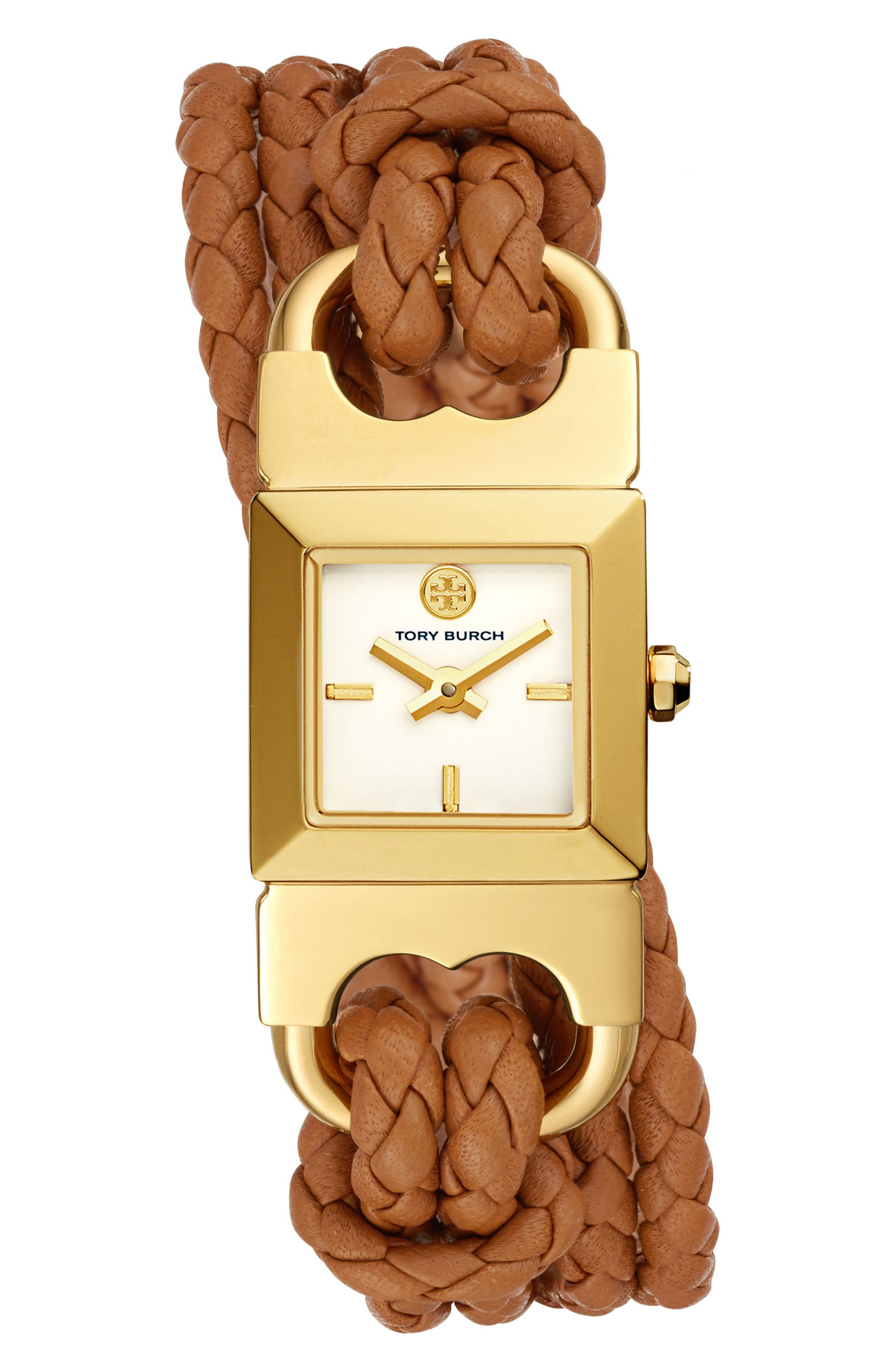 Gemini Link Square Leather Strap Watch, 18mm,                             Main thumbnail 1, color,                             Luggage/ Cream/ Gold