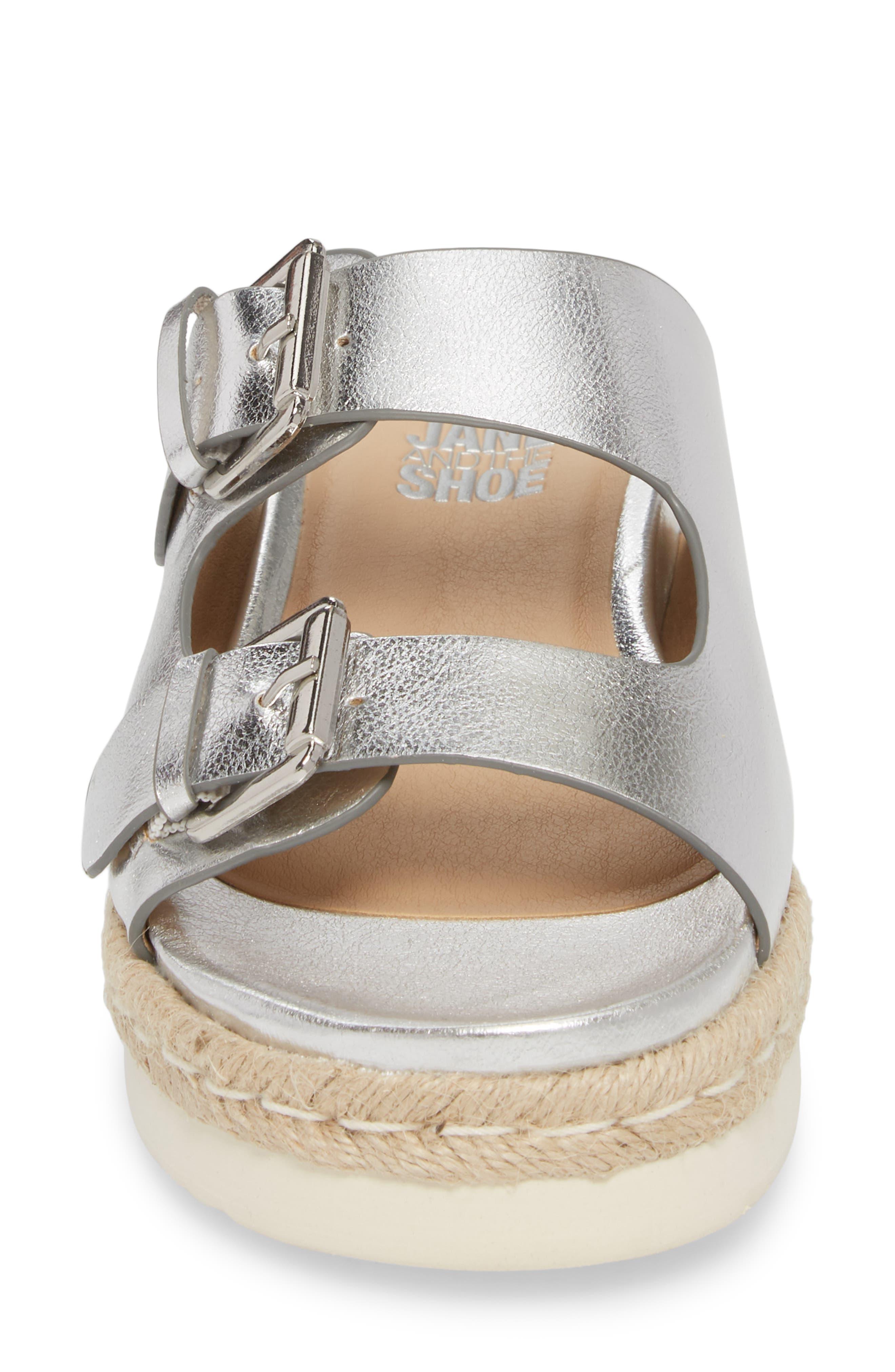 Jojo Two-Buckle Slide Sandal,                             Alternate thumbnail 4, color,                             Silver