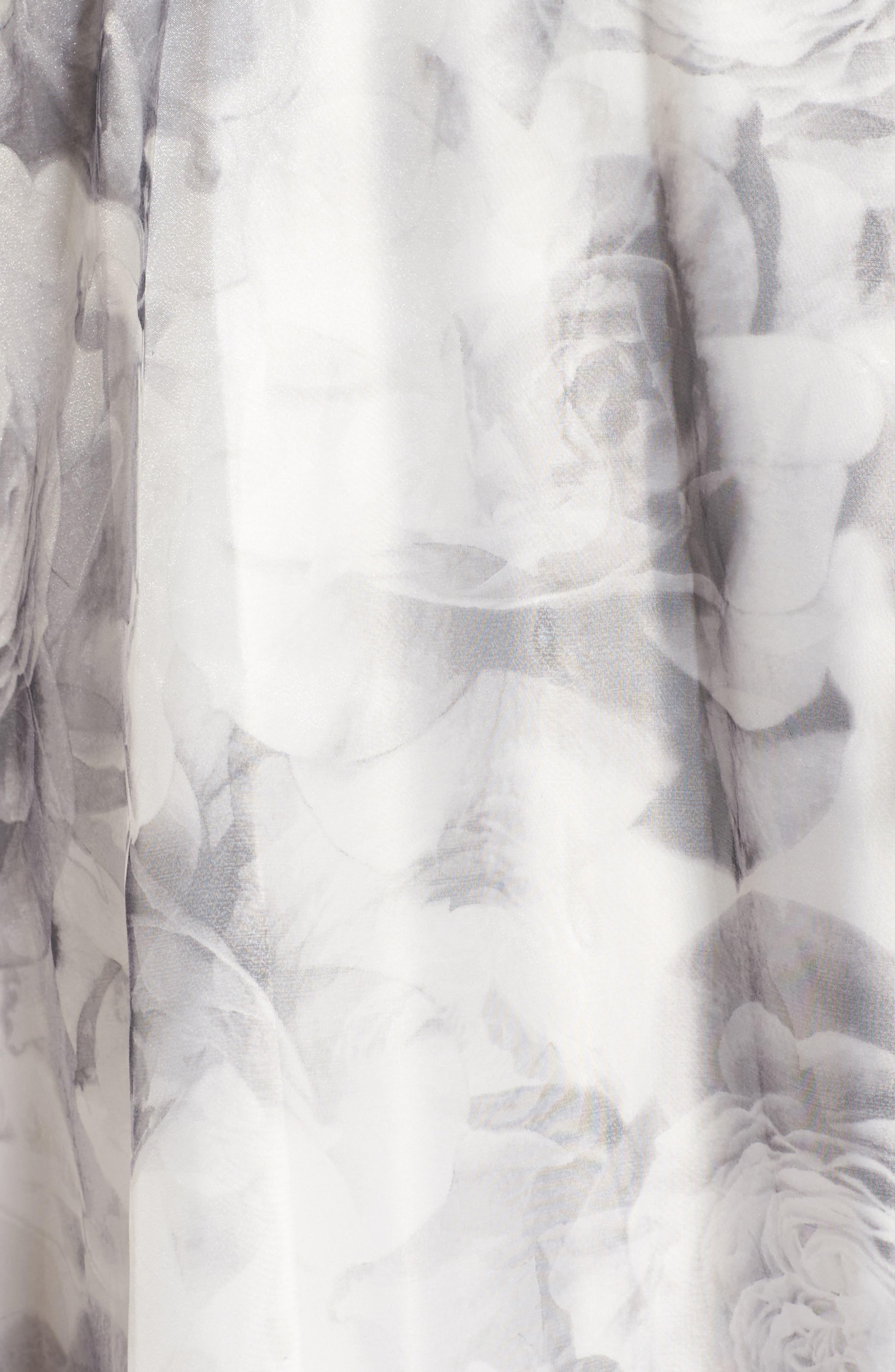 Embellished Neck Rose Print Ballgown,                             Alternate thumbnail 5, color,                             Black/ White