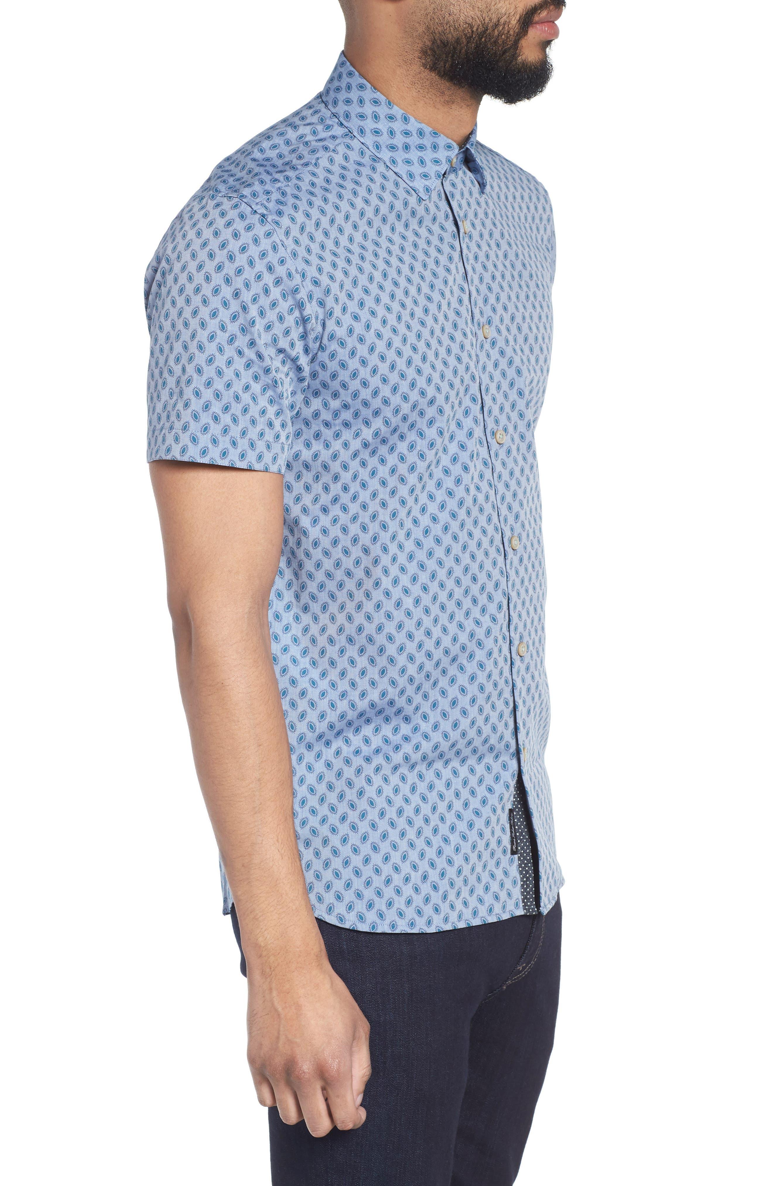Newfott Extra Slim Fit Short Sleeve Sport Shirt,                             Alternate thumbnail 4, color,                             Blue