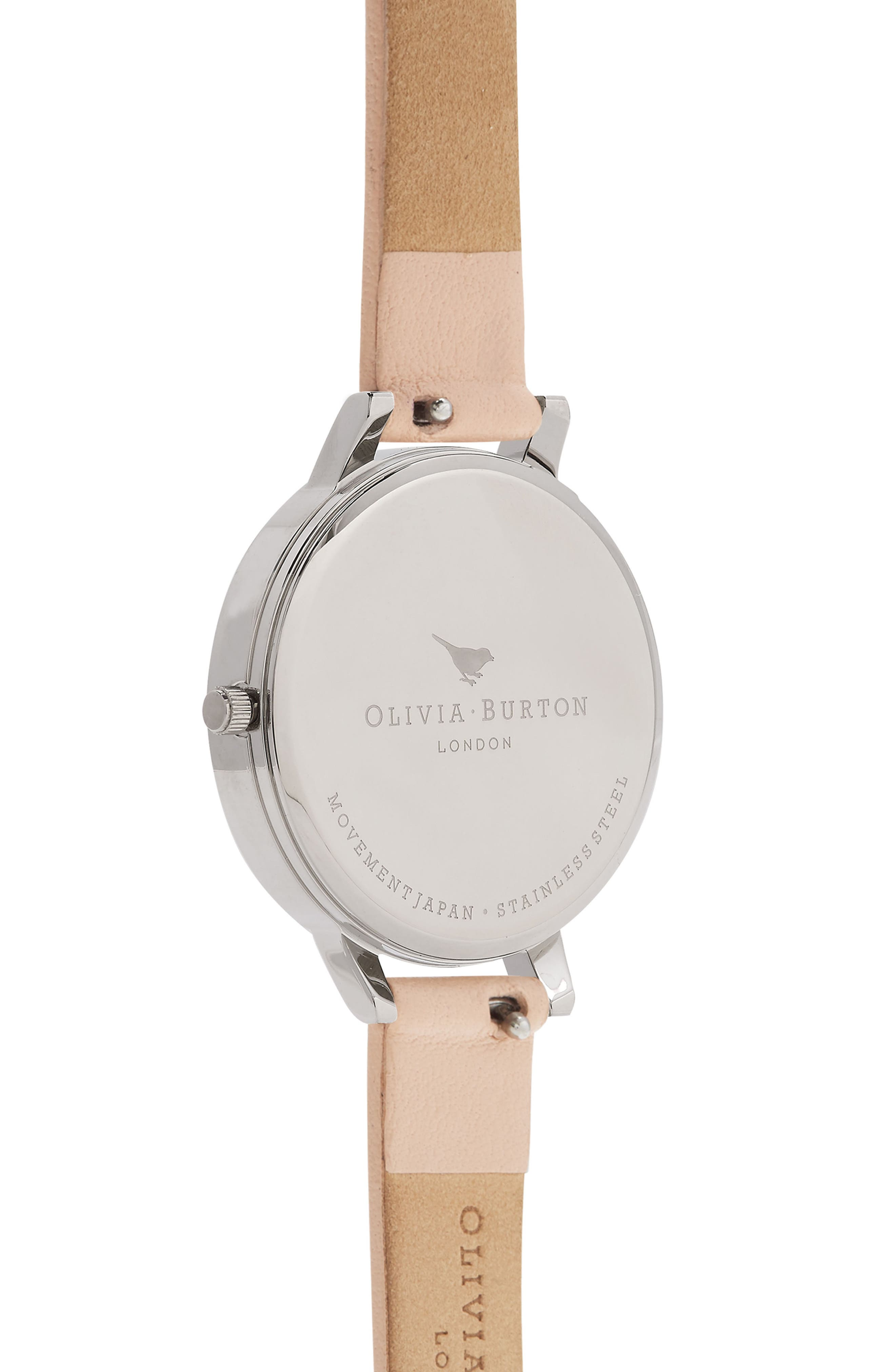 Abstract Floral Leather Strap Watch, 30mm,                             Alternate thumbnail 2, color,                             Nude Peach/ Floral/ Silver