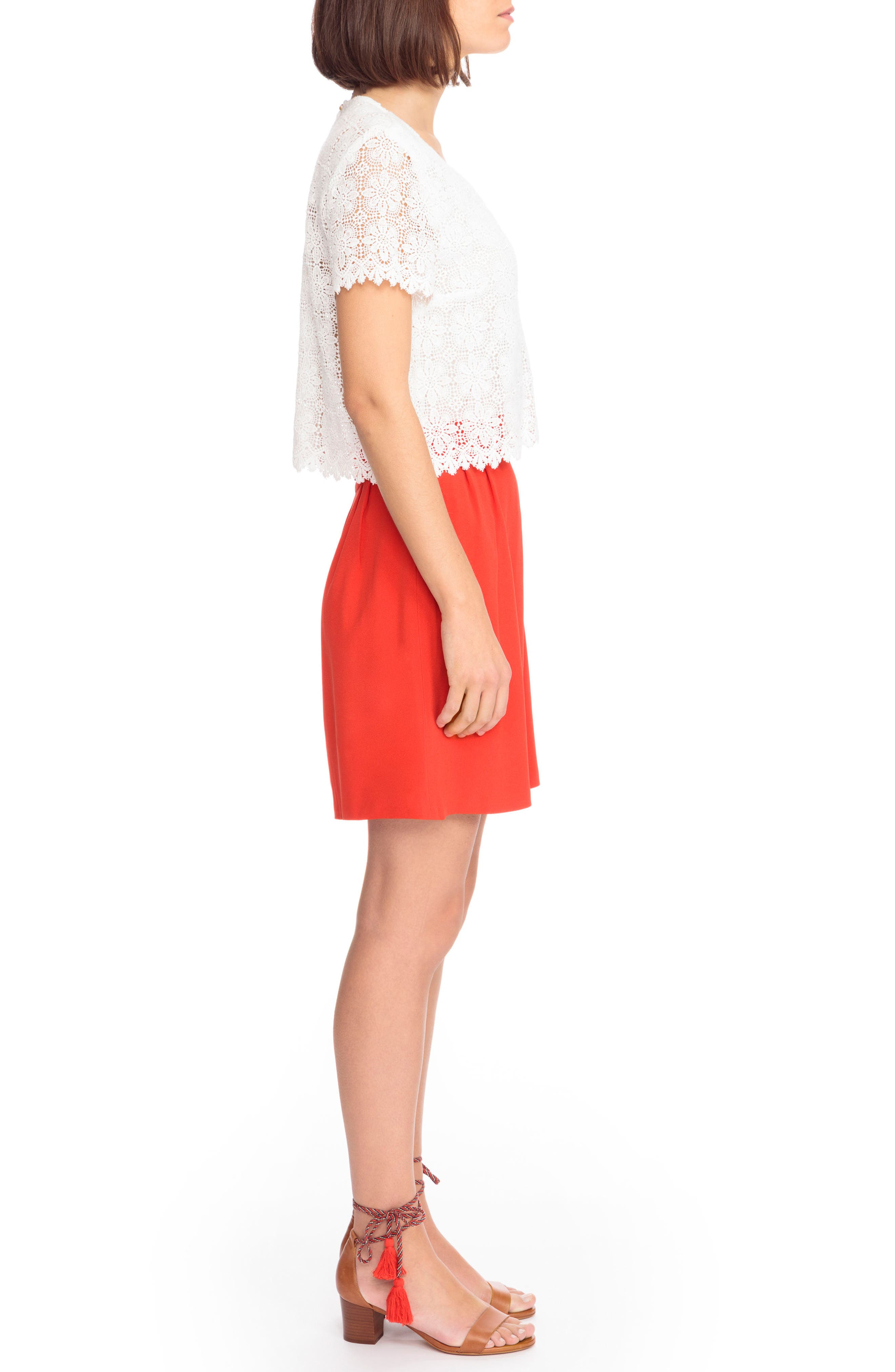 Gloria Two-in-One Dress,                             Alternate thumbnail 5, color,                             Coral Red