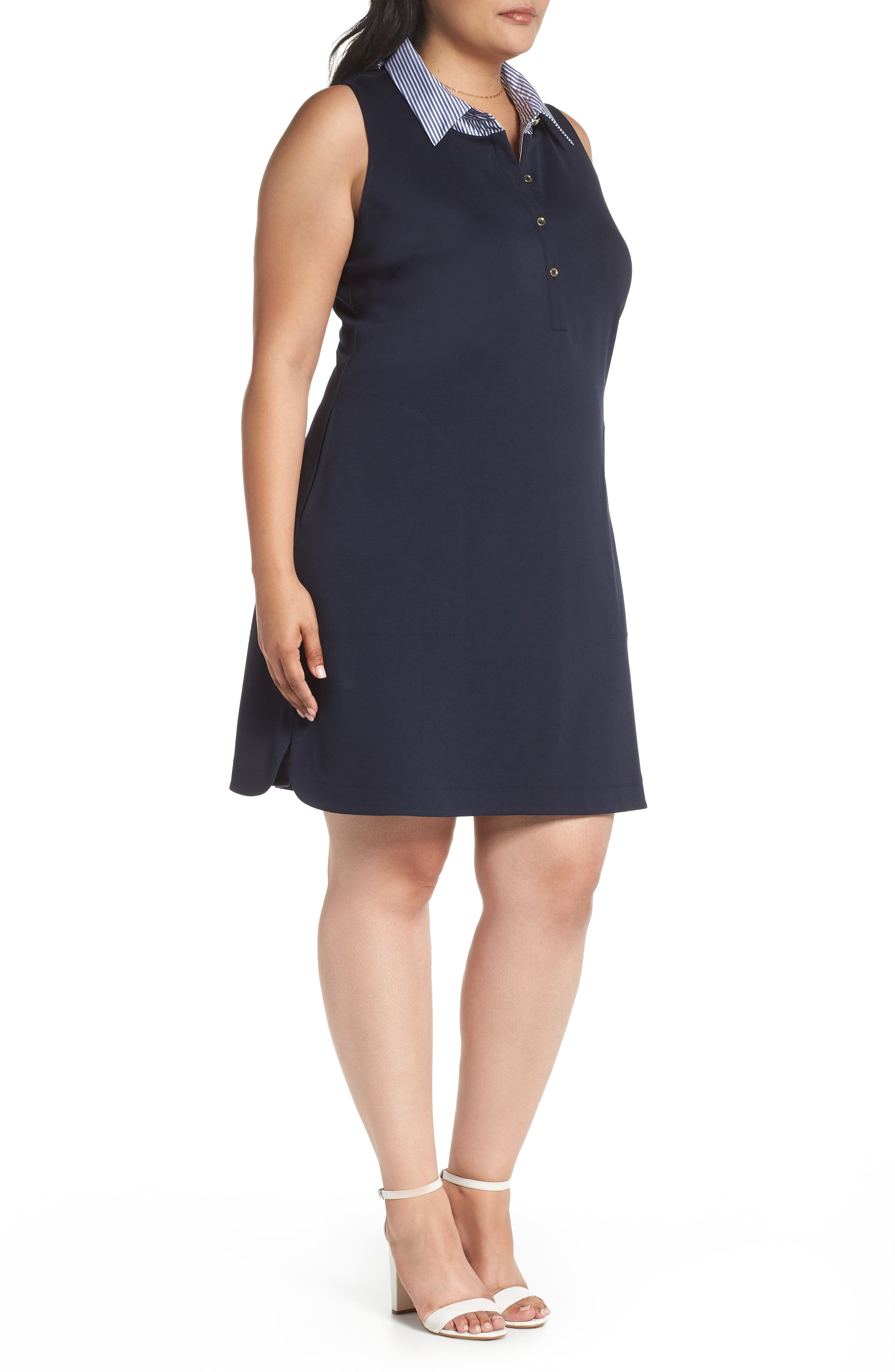 Poplin Collar Knit Dress,                             Alternate thumbnail 3, color,                             Navy