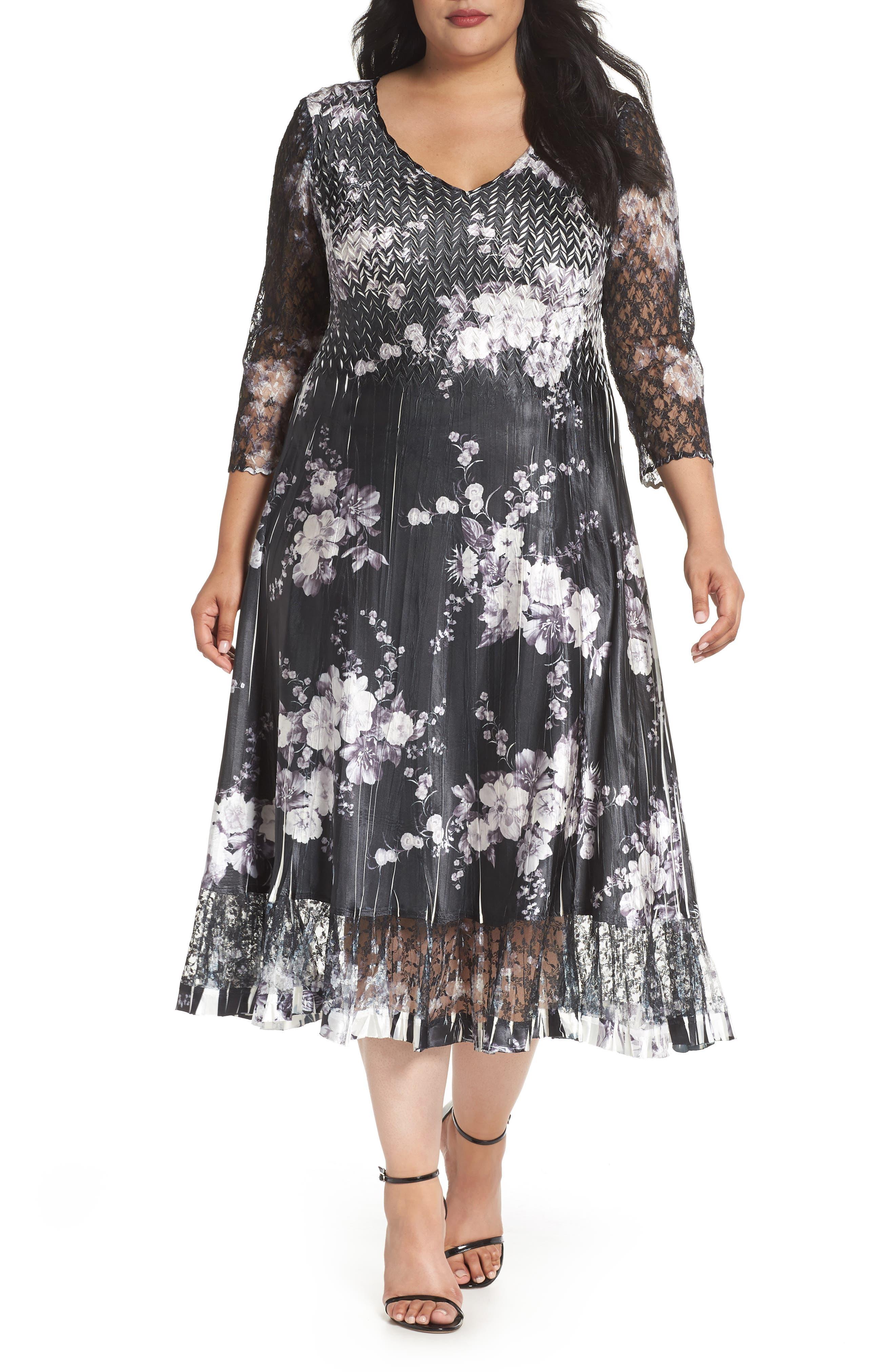 Lace & Charmeuse A-Line Dress,                             Main thumbnail 1, color,                             Eclipse Meadow