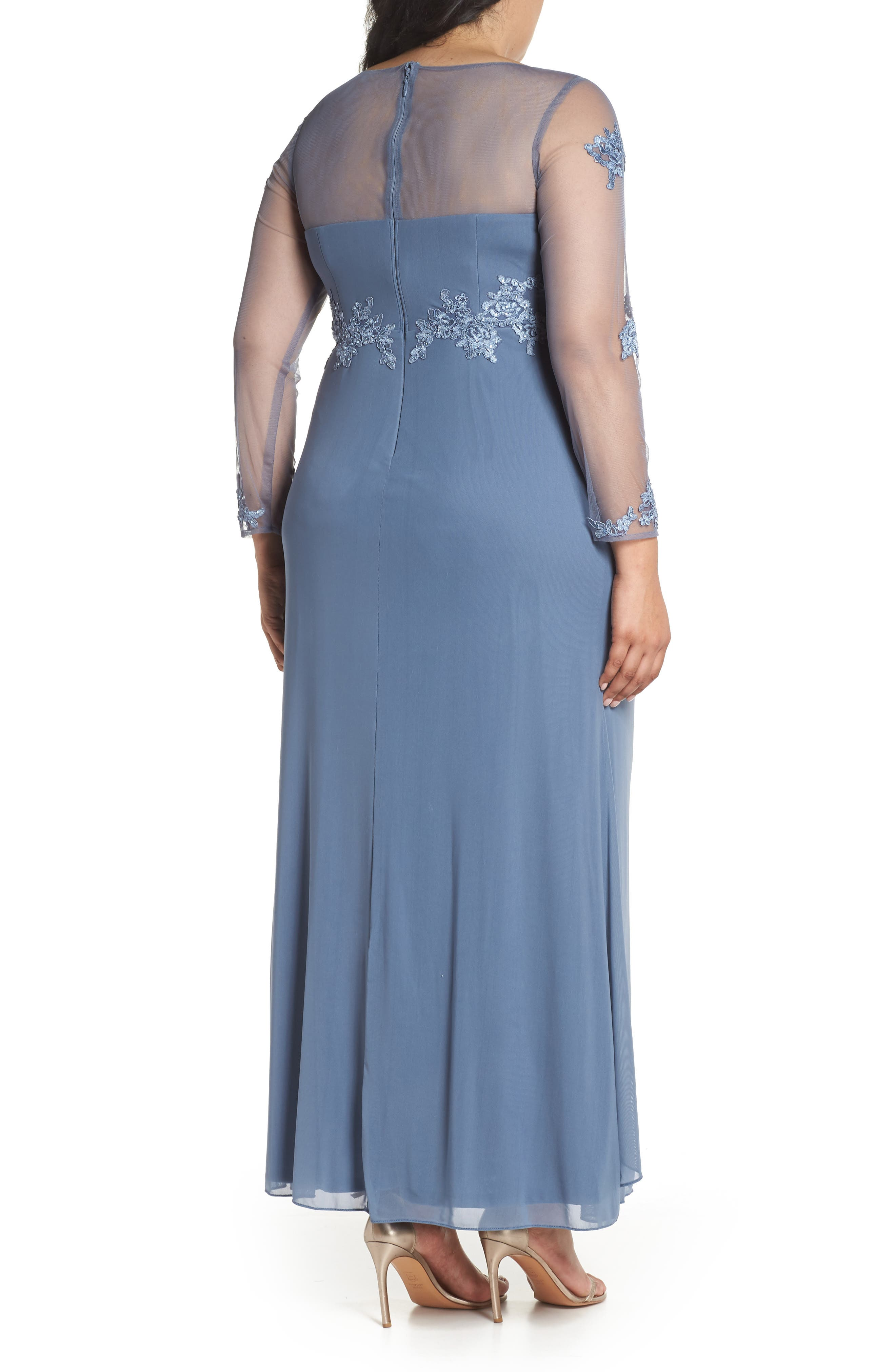 Embroidered Illusion Lace Gown,                             Alternate thumbnail 2, color,                             Peri