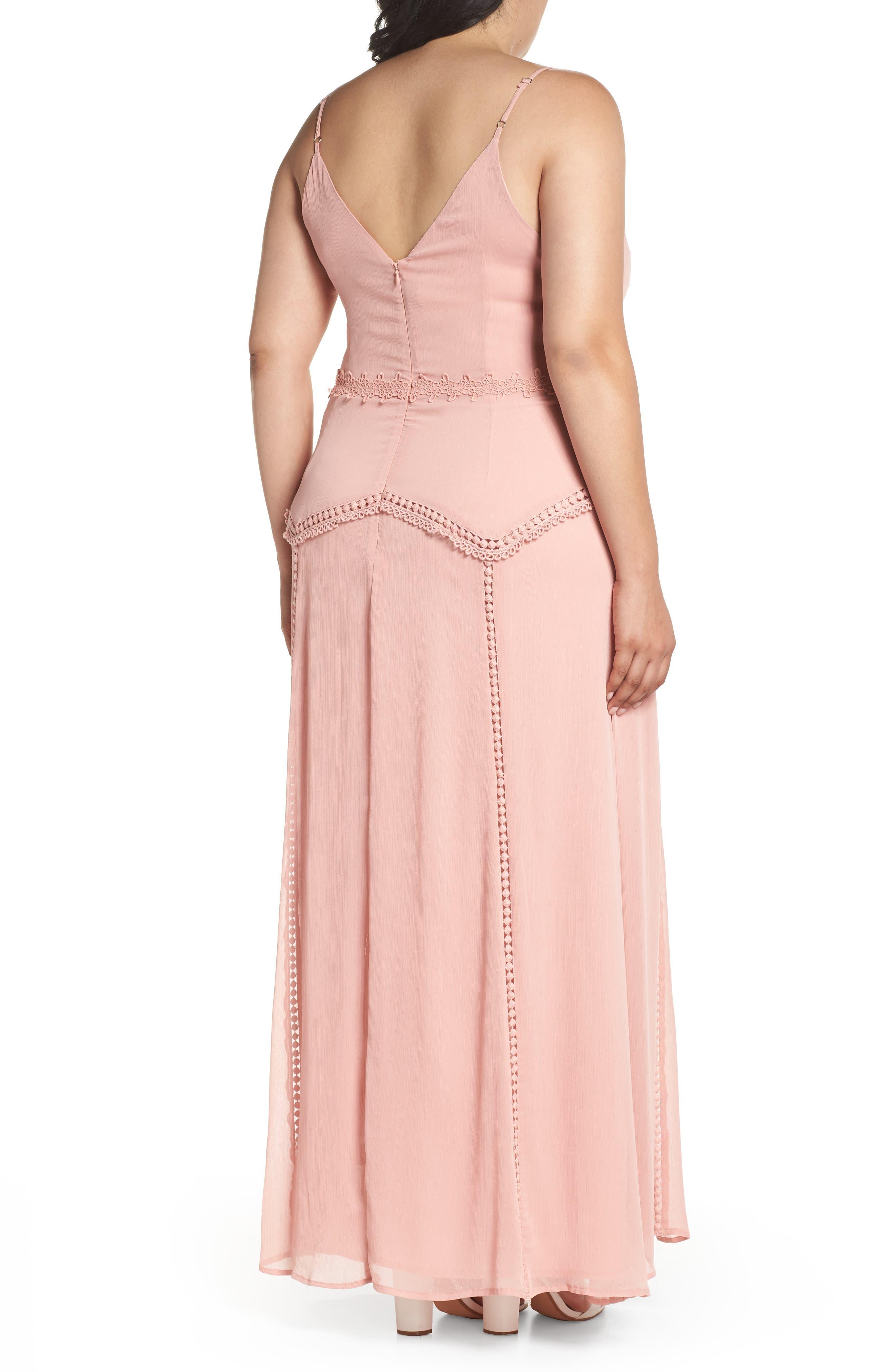 Alternate Image 2  - LOST INK Picot Trim Maxi Dress (Encore)