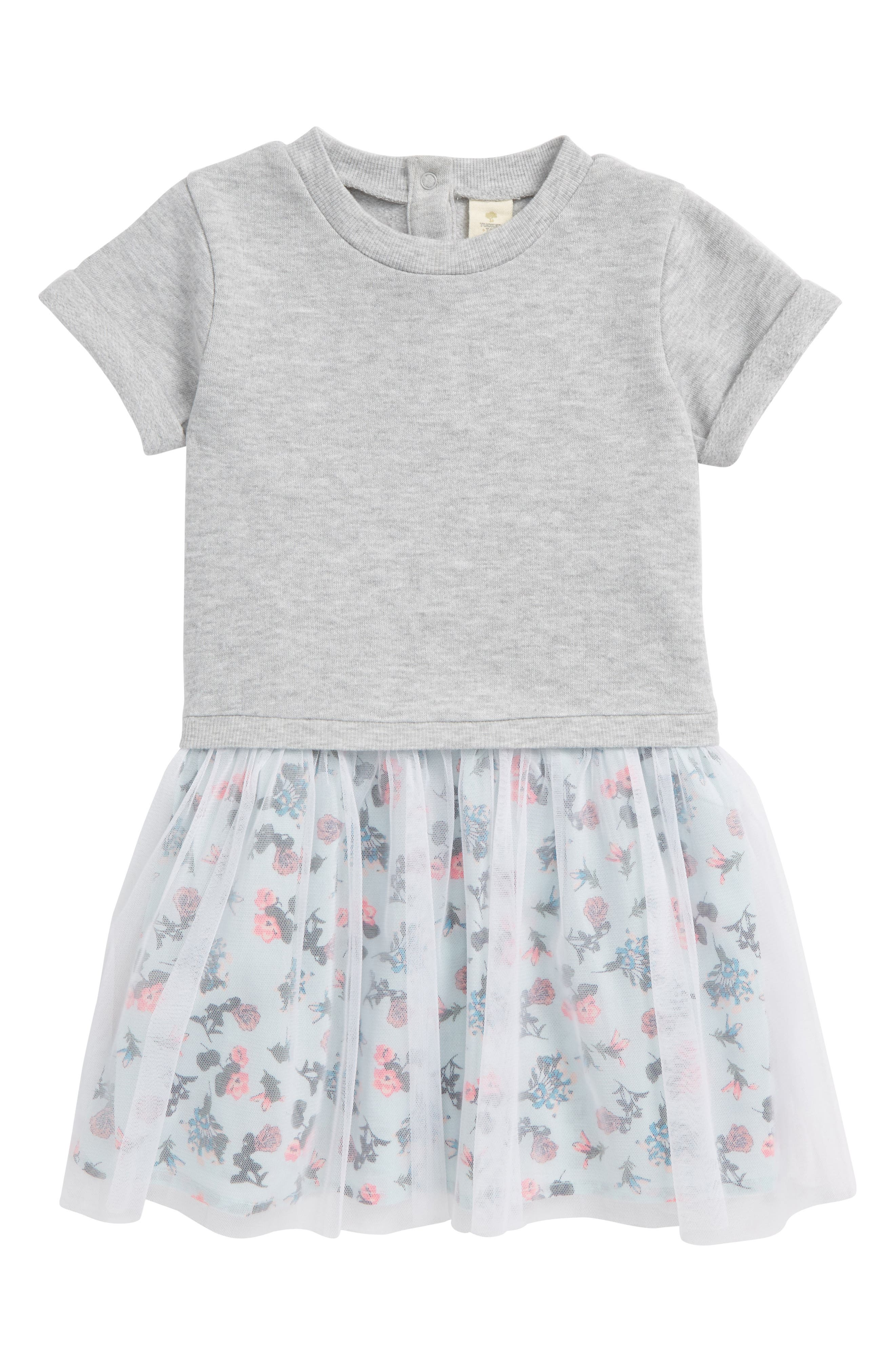 Tulle Dress,                             Main thumbnail 1, color,                             Grey Ash Heather Blooms