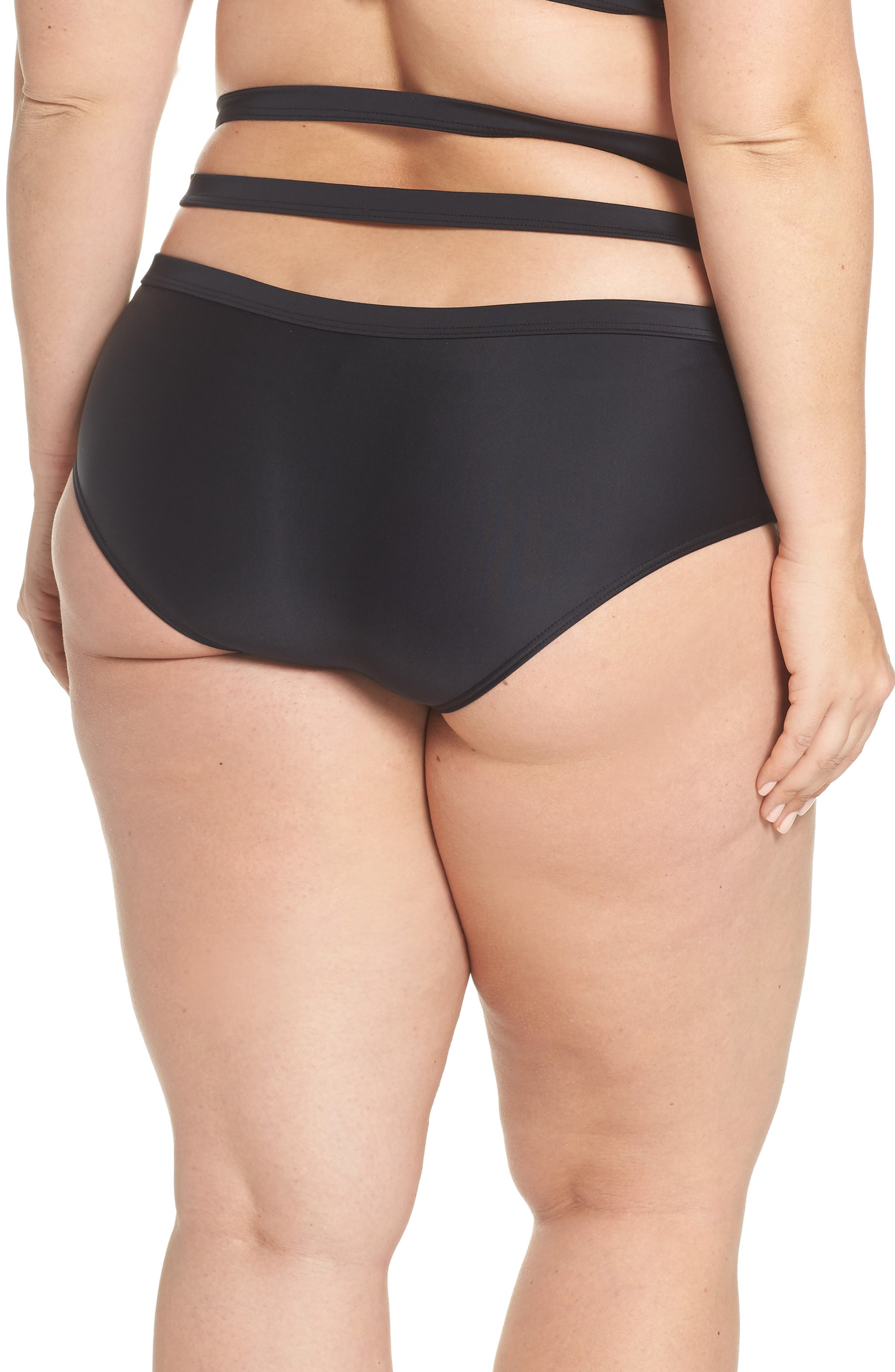 Bouloux II High Waist Bikini Bottoms,                             Alternate thumbnail 9, color,                             Black