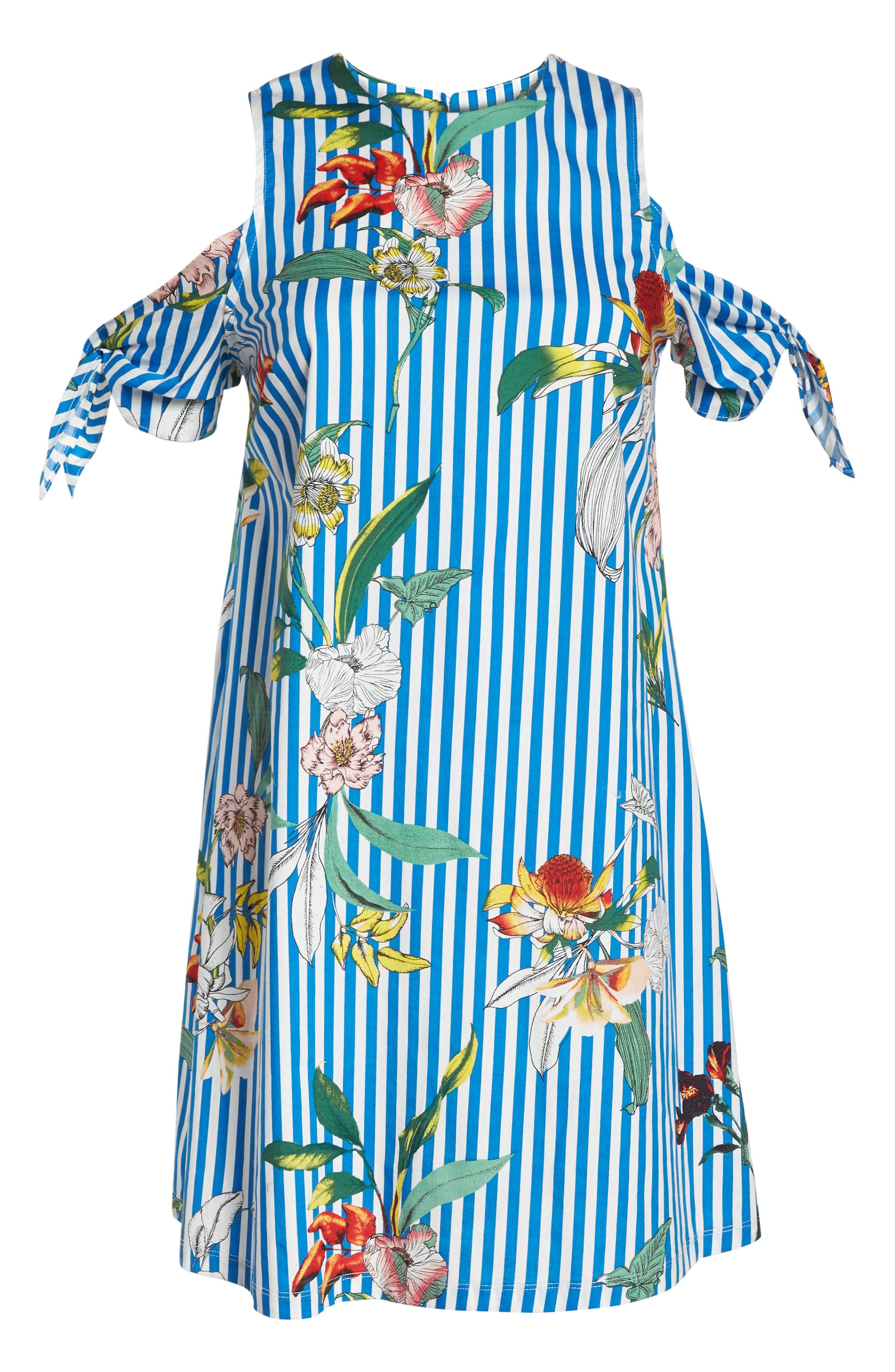 Cold Shoulder Shift Dress,                             Alternate thumbnail 7, color,                             Blue/ Ivory