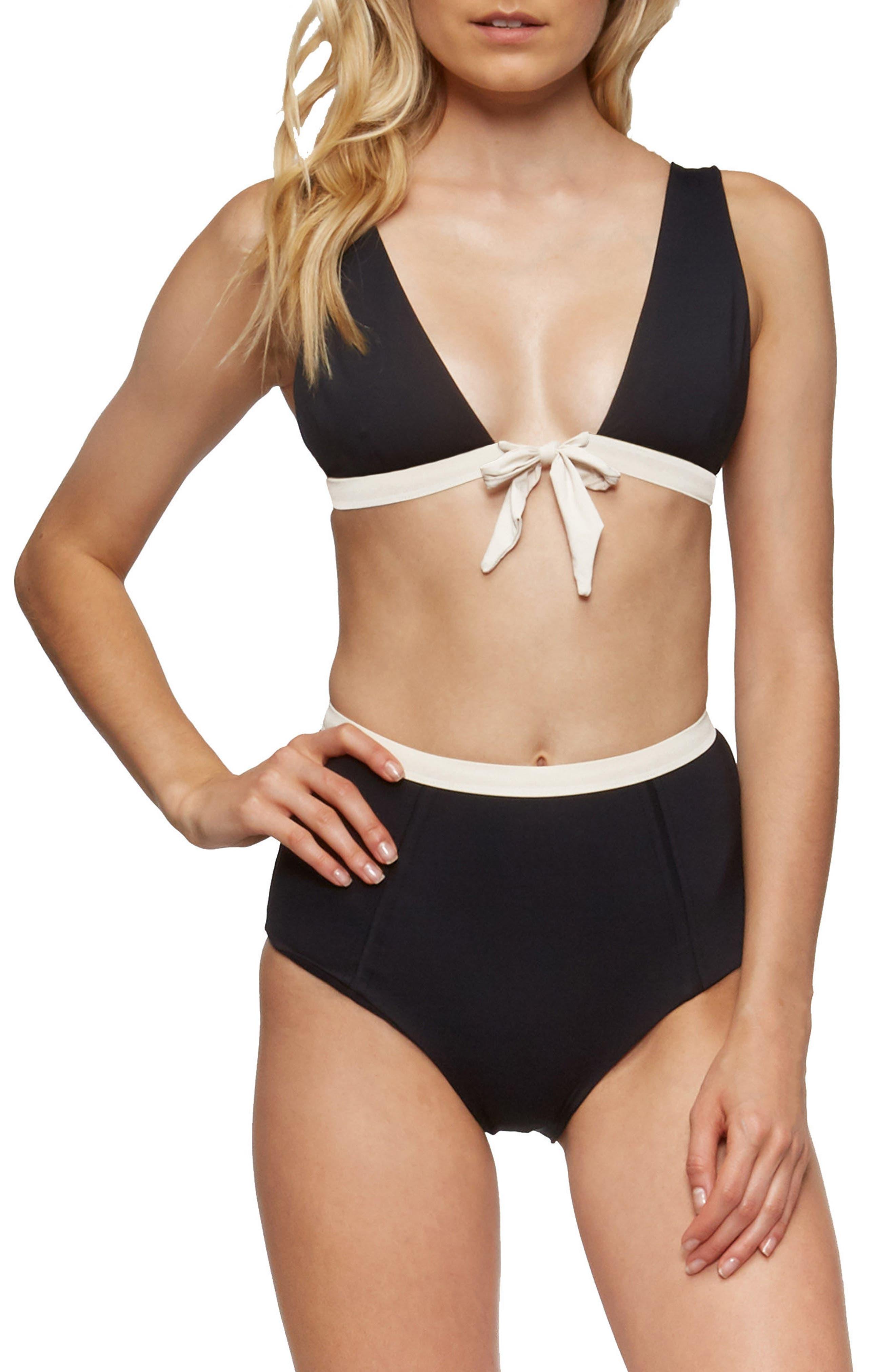 Caroline Bikini Top,                             Alternate thumbnail 6, color,                             Black/ Tapioca