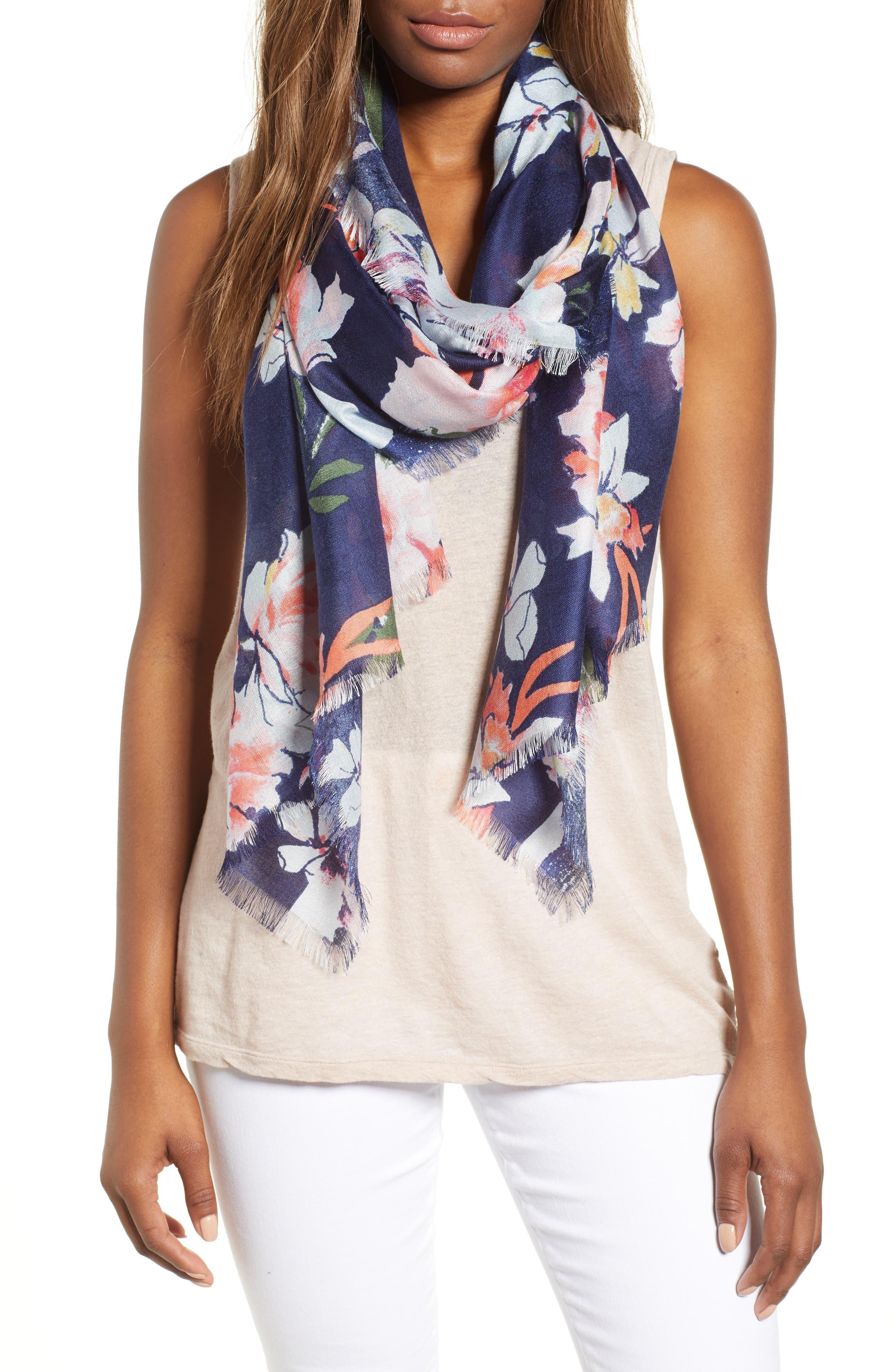 Eyelash Trim Print Cashmere & Silk Wrap,                         Main,                         color, Navy Framed Garden