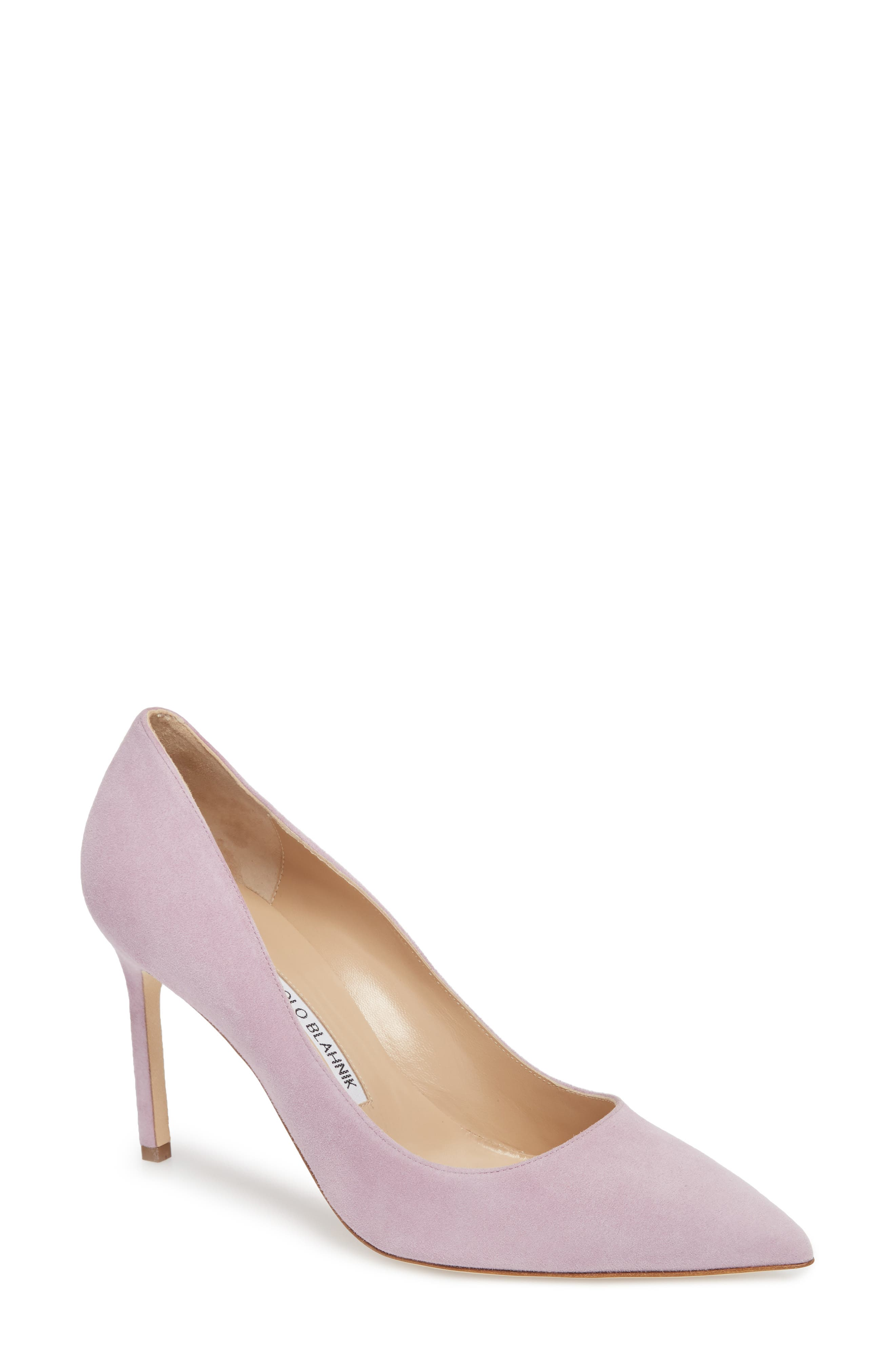 BB Pointy Toe Pump,                             Main thumbnail 1, color,                             Lavender Suede