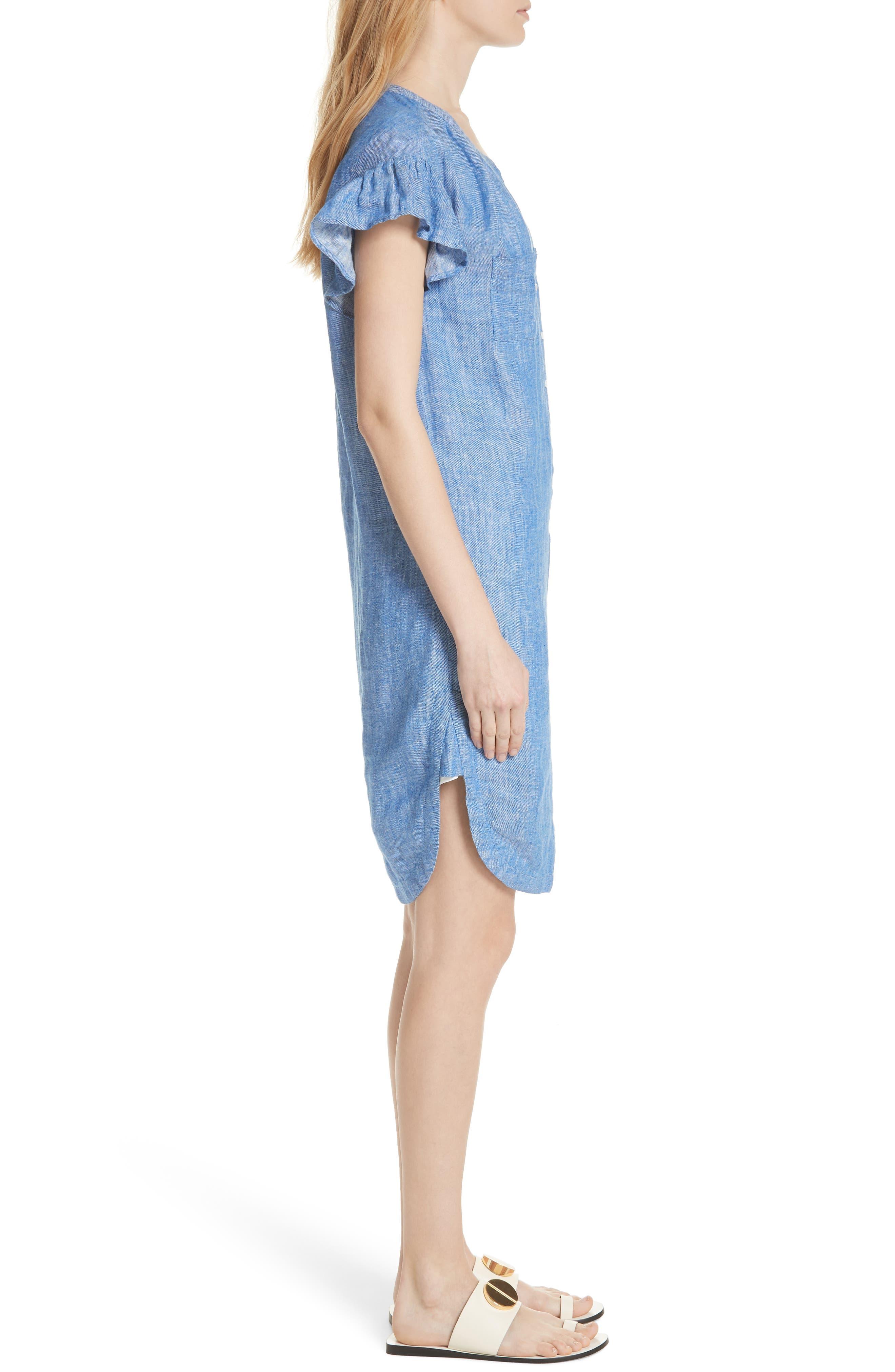 Fermina Ruffle Sleeve Linen Dress,                             Alternate thumbnail 3, color,                             Surf Break