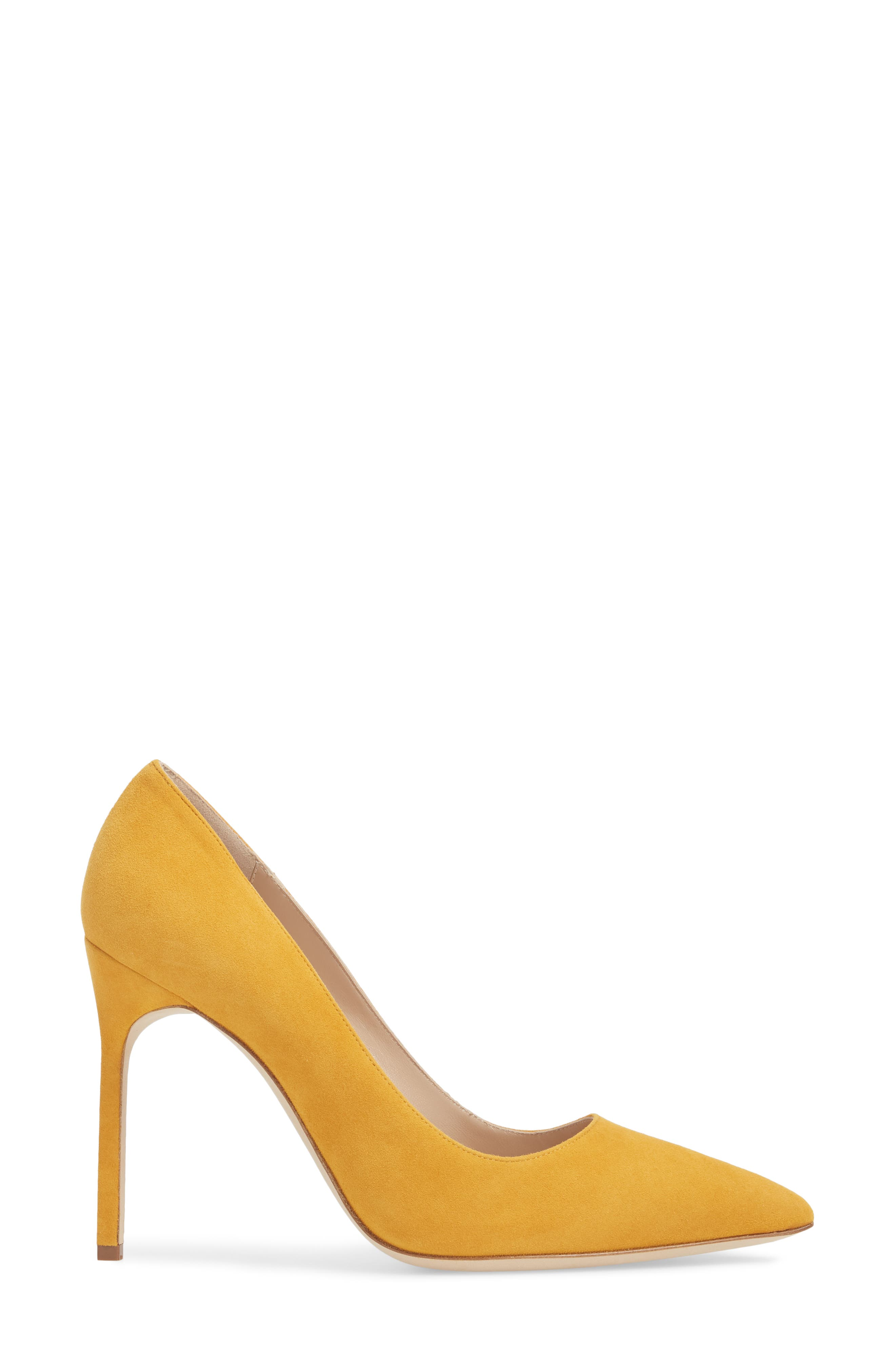 'BB' Pointy Toe Pump,                             Alternate thumbnail 3, color,                             Arbor Yellow