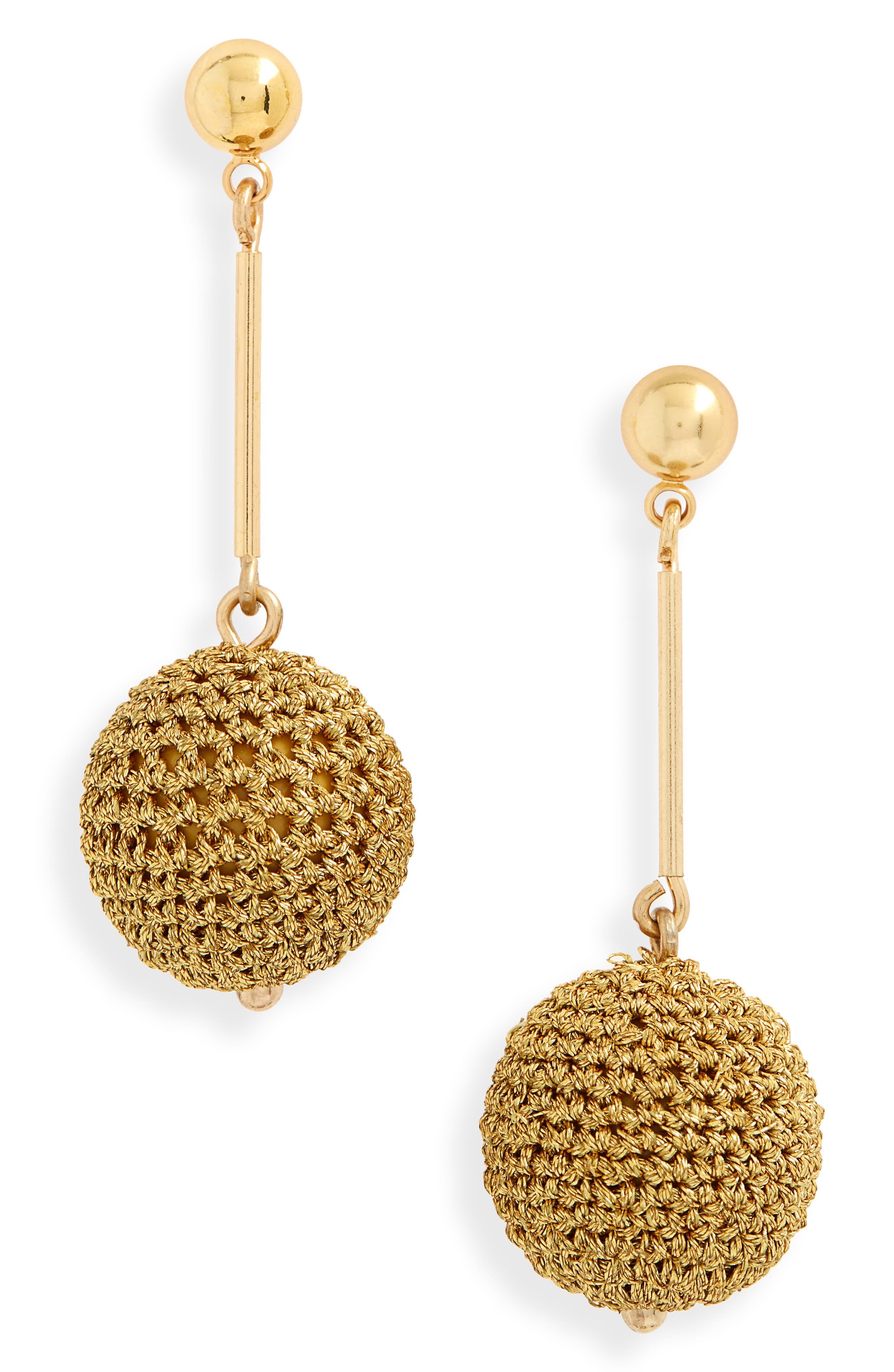 Crochet Ball Drop Earrings,                             Main thumbnail 1, color,                             Gold