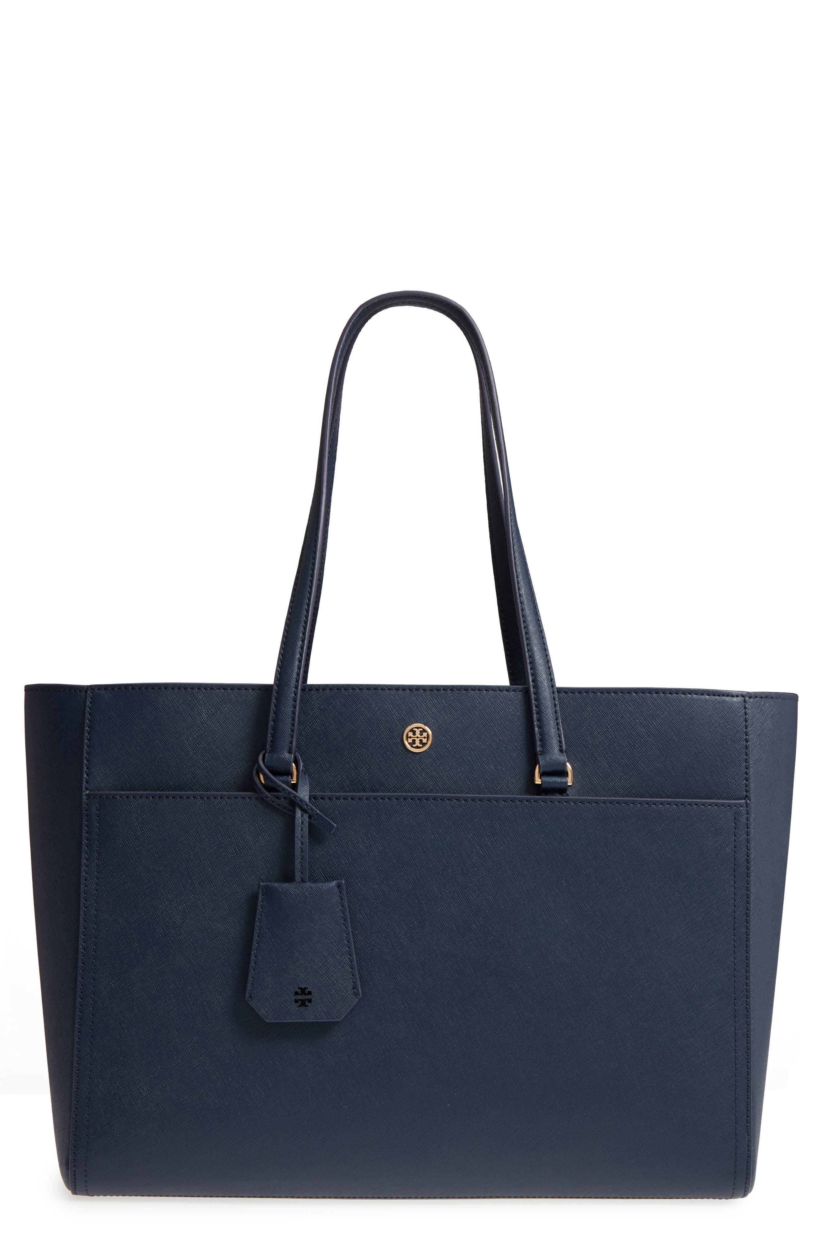 Robinson Leather Tote,                         Main,                         color, Royal Navy / Black