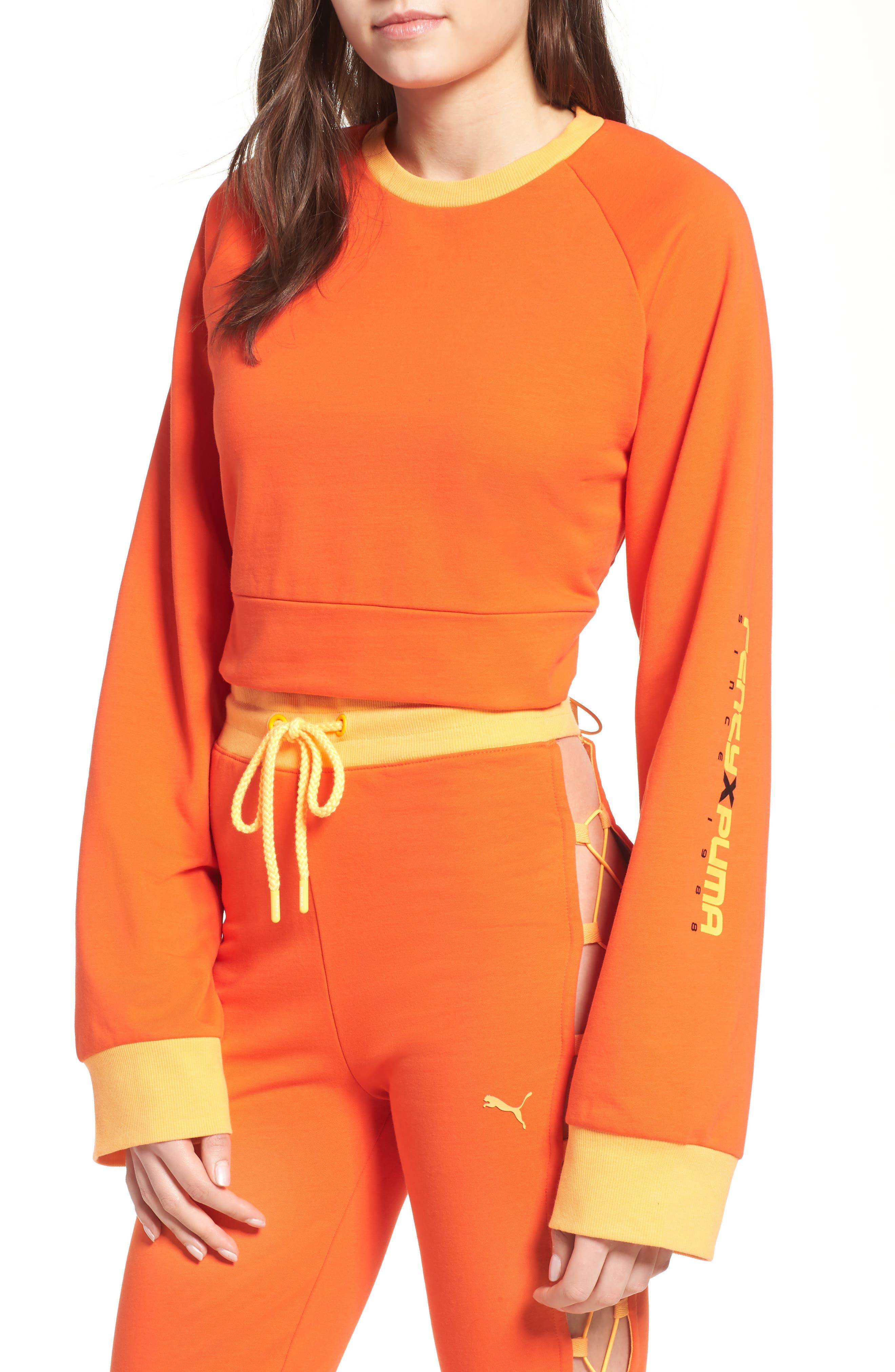 FENTY PUMA by Rihanna Lace-Up Back Sweatshirt,                             Main thumbnail 1, color,                             Cherry Tomato