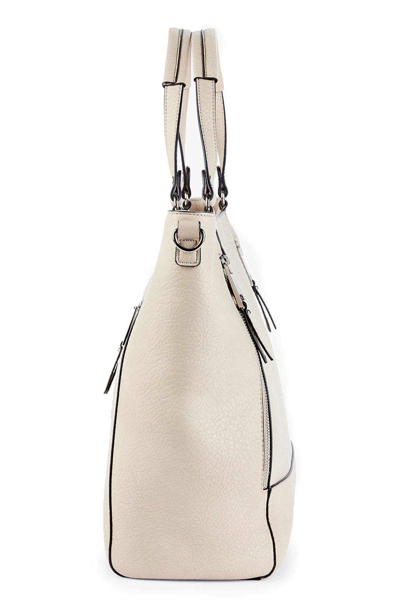 Nera Faux Leather Tote,                             Alternate thumbnail 5, color,                             Sandshell