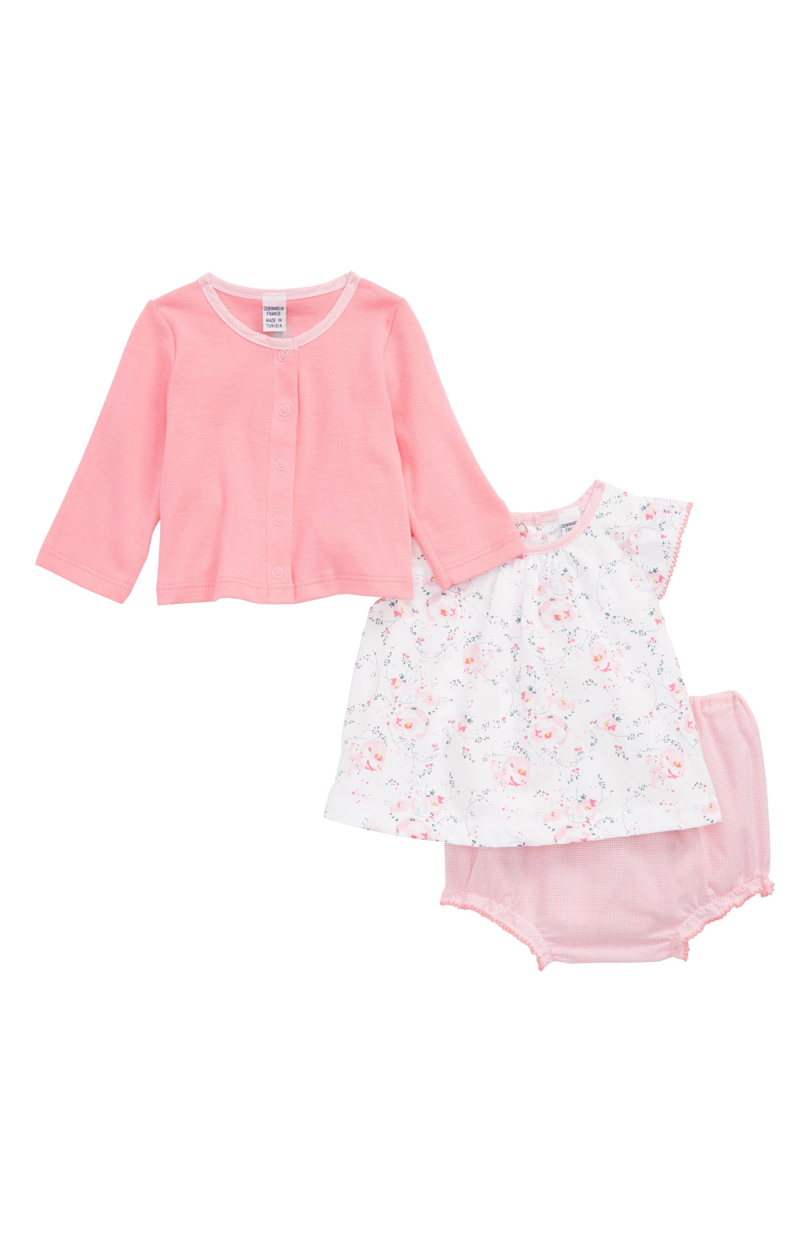 Top, Cardigan & Shorts Set,                         Main,                         color, Pink Multi