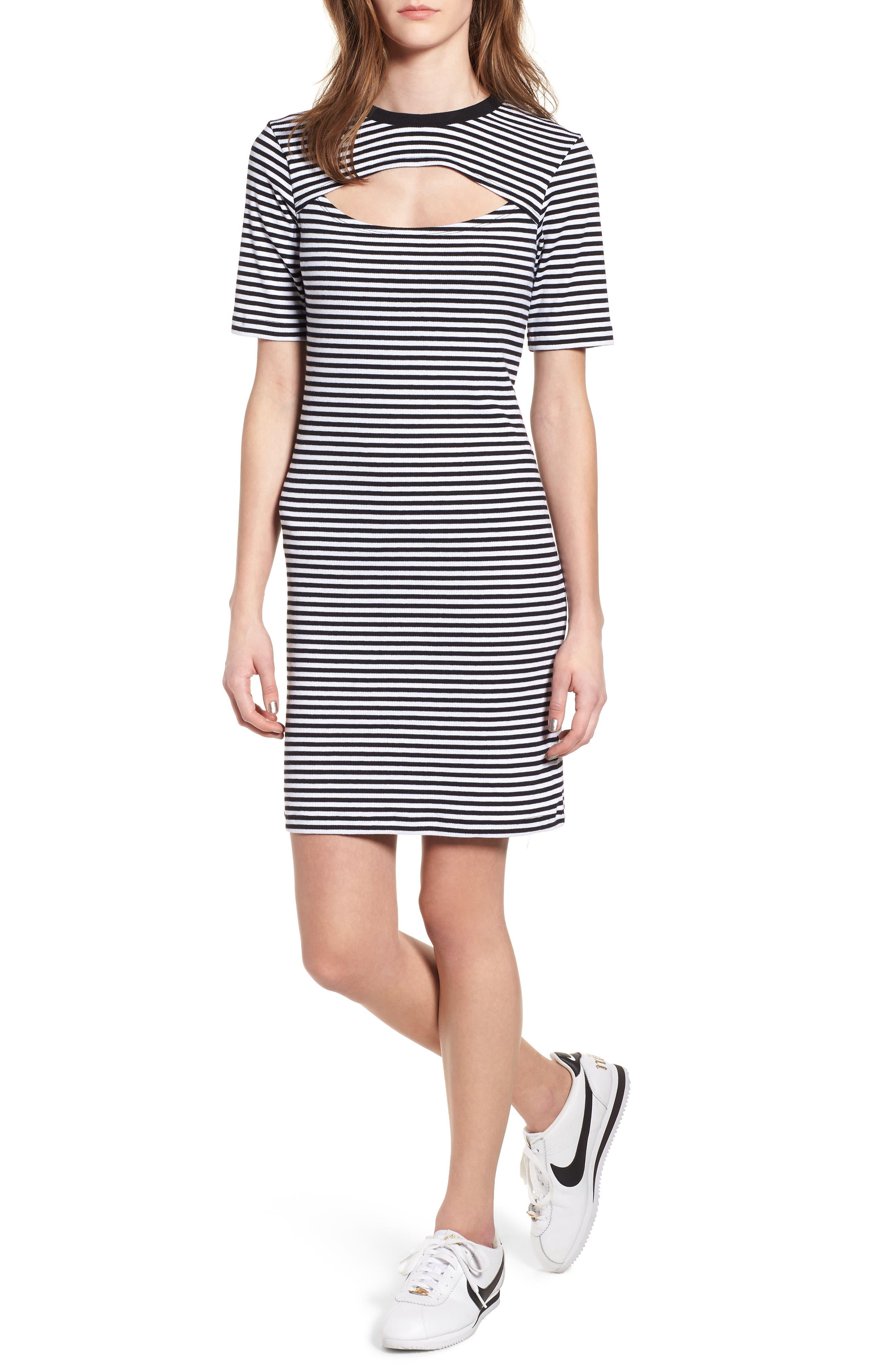 Stripe Cutout Dress,                             Main thumbnail 1, color,                             Black W White