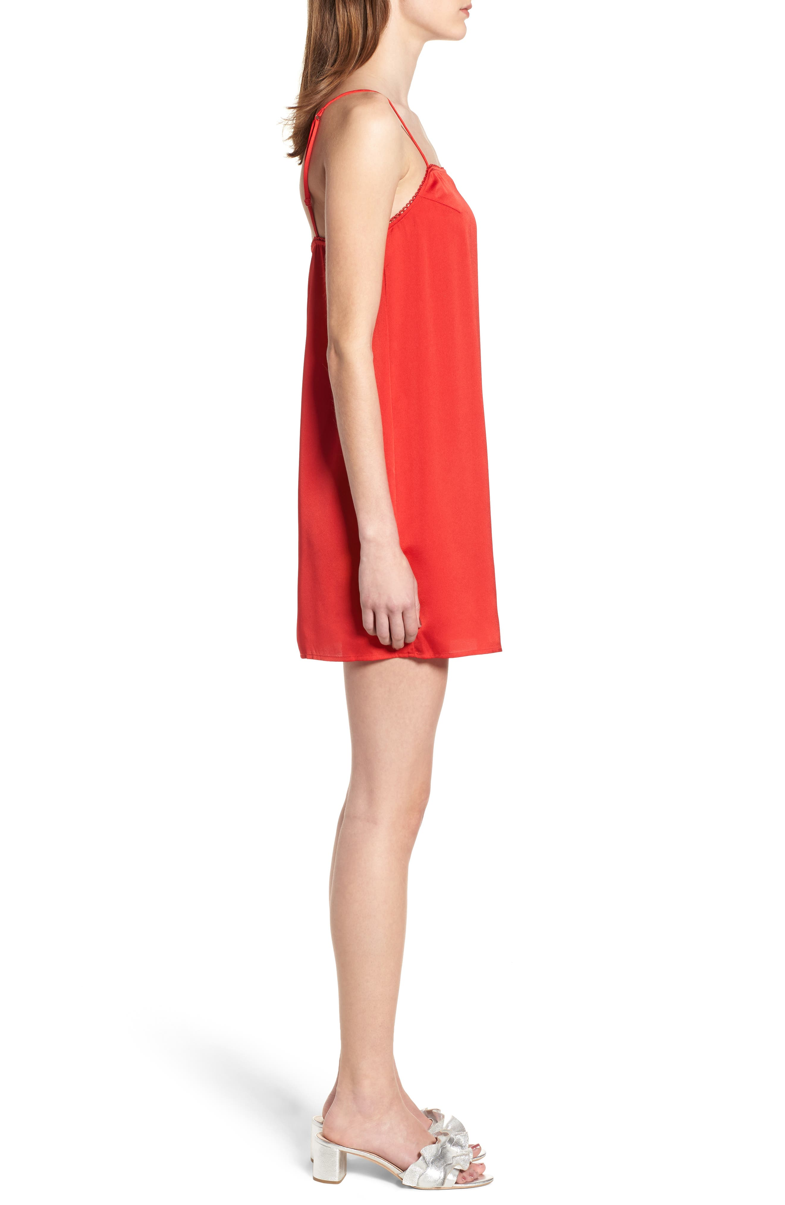Moonlit Strappy Satin Swing Dress,                             Alternate thumbnail 3, color,                             Red
