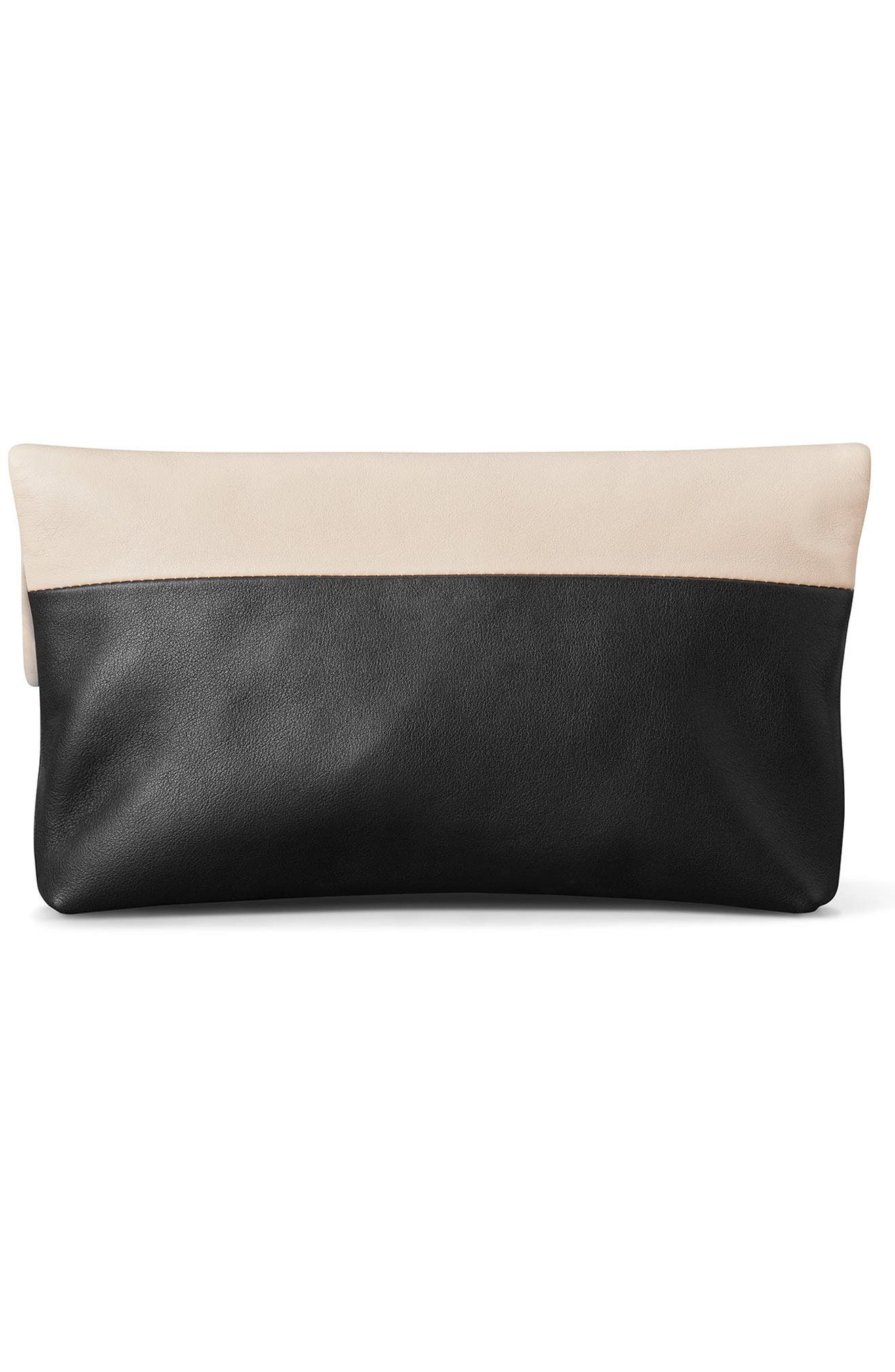 Birdy Leather Foldover Clutch,                             Alternate thumbnail 2, color,                             Soft Blush Black