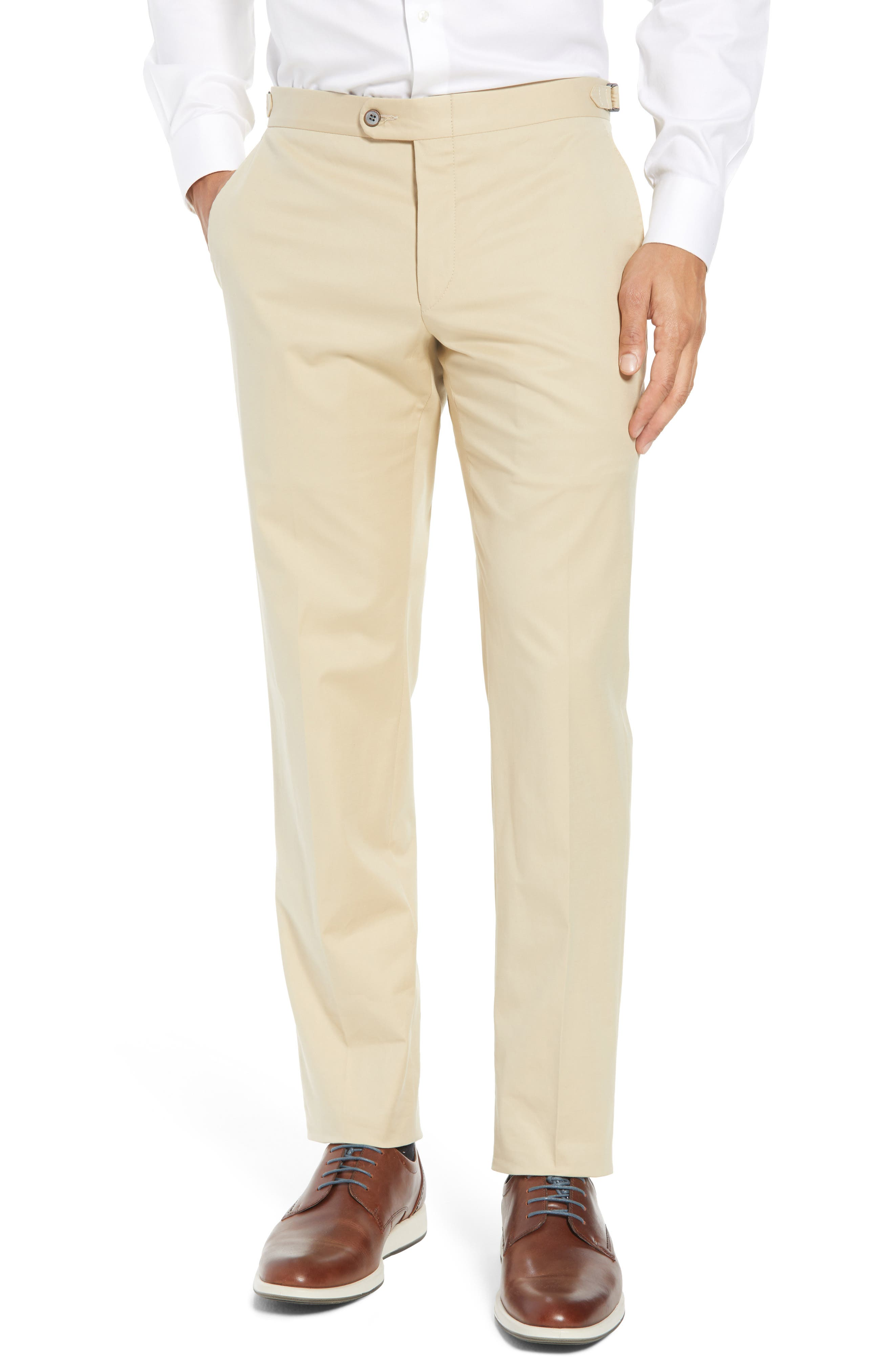 Hickey Freeman Flat Front Stretch Solid Cotton Trousers