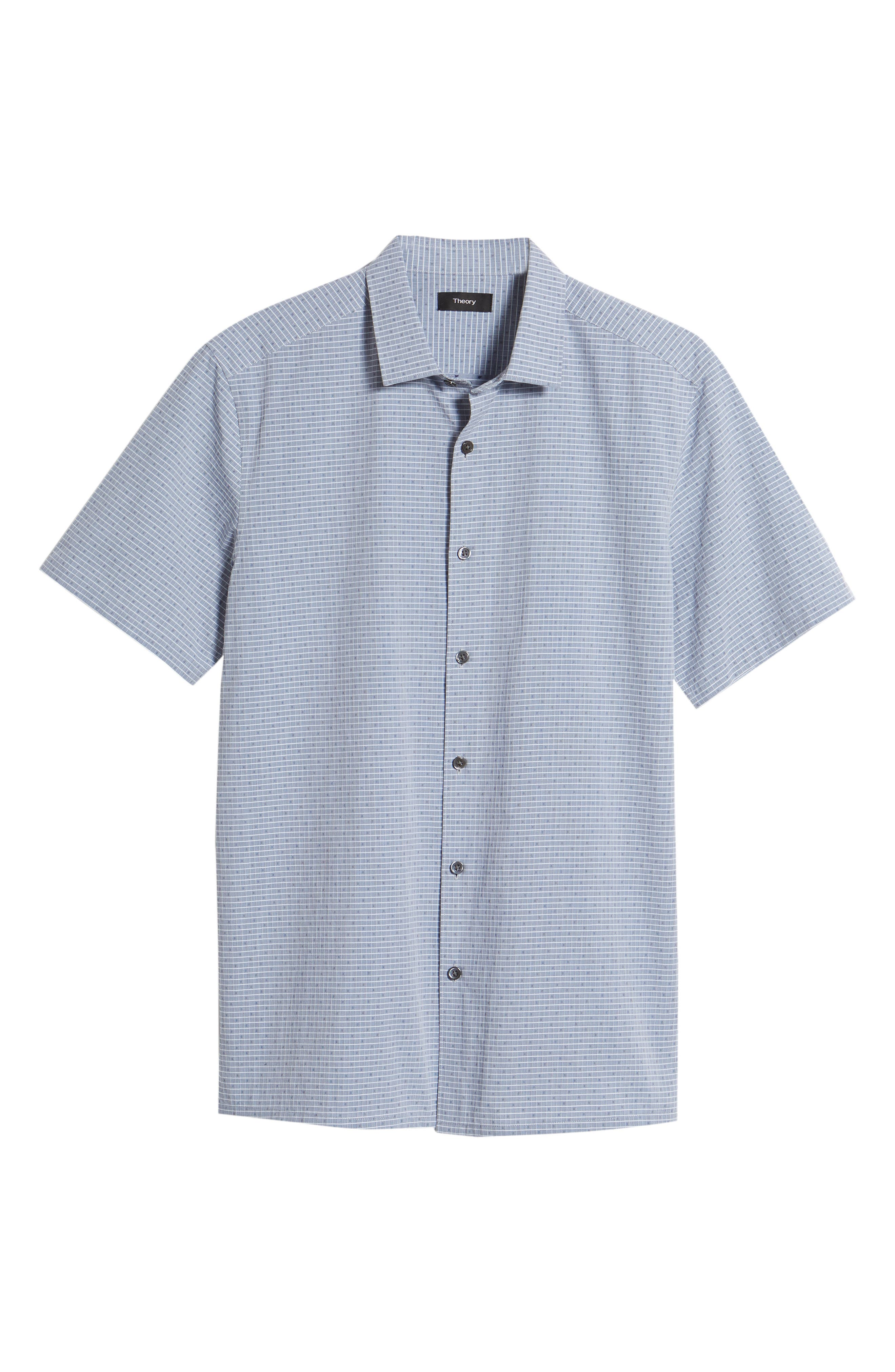 Murray Trim Fit Check Short Sleeve Sport Shirt,                             Alternate thumbnail 6, color,                             Eclipse Multi