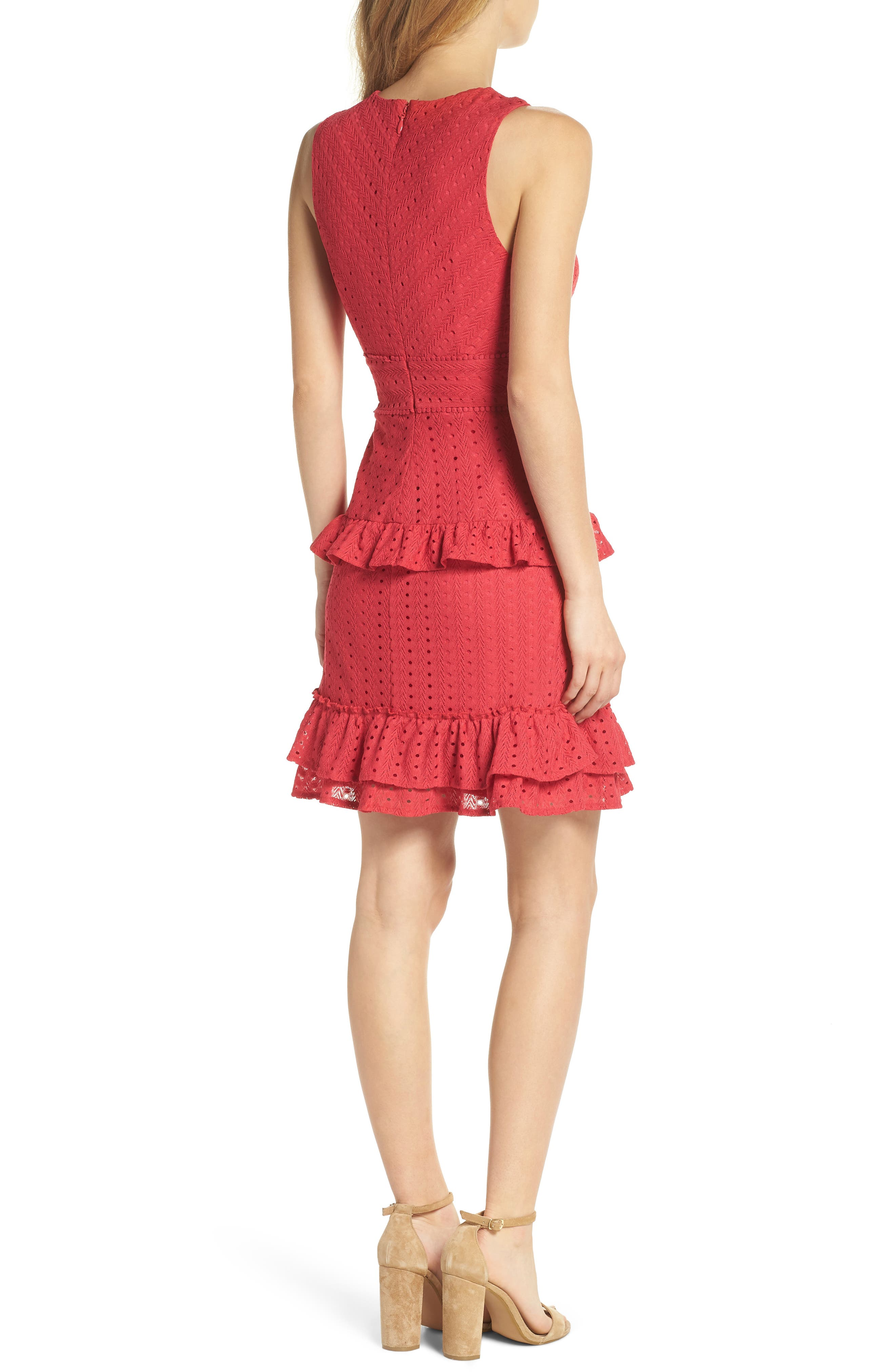 Sleeveless Ruffle Knit Sheath Dress,                             Alternate thumbnail 2, color,                             Pink Rose