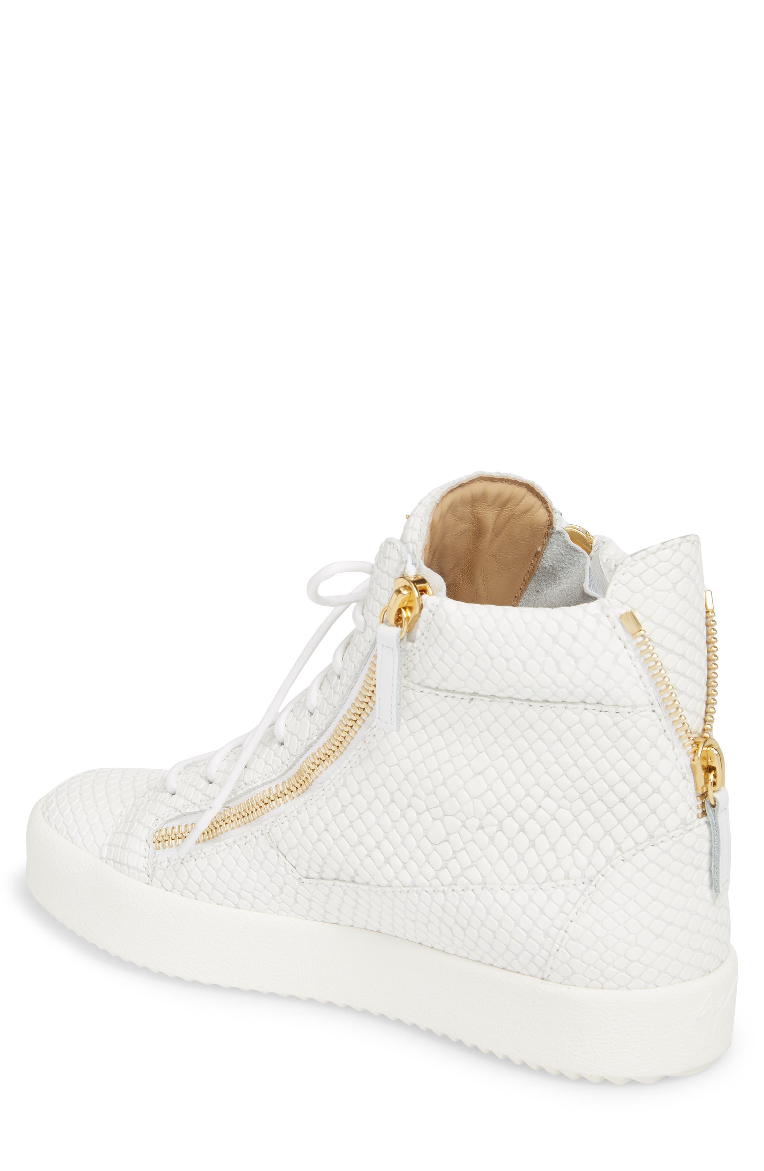 Snake Embossed High Top Sneaker,                             Alternate thumbnail 2, color,                             Bianco