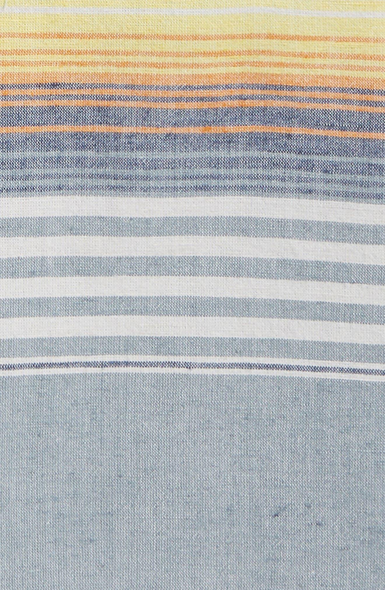 Stripe Hooded Romper,                             Alternate thumbnail 2, color,                             Blue Chambray Sunset Stripe